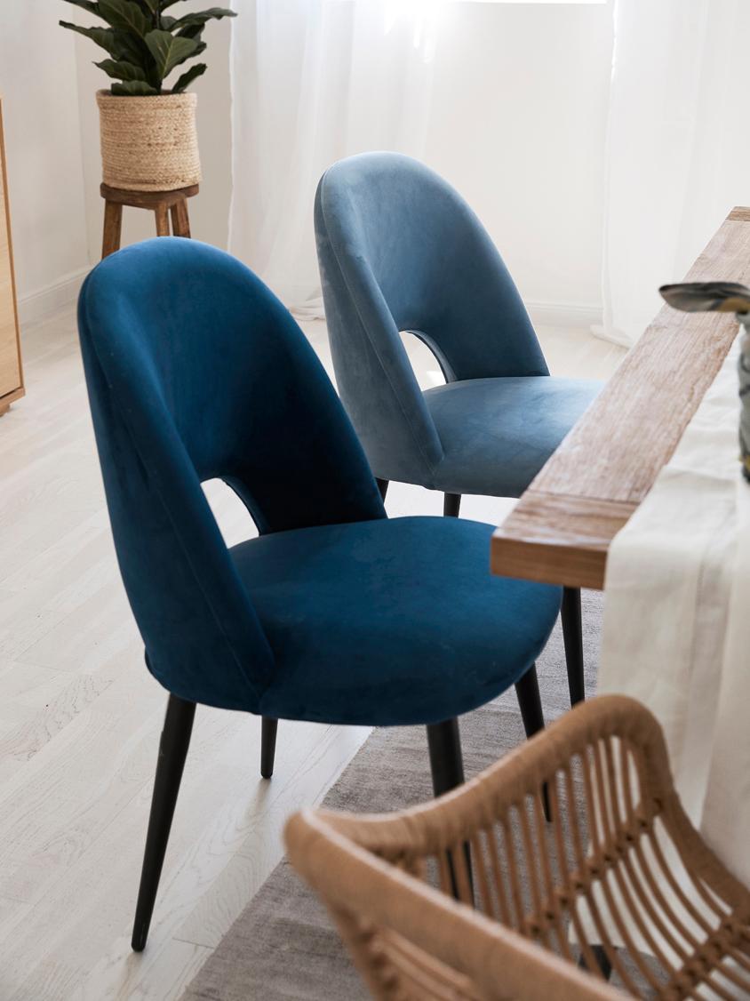 Sedia imbottita in velluto Rachel, Rivestimento: velluto (rivestimento in , Gambe: metallo verniciato a polv, Azzurro, Larg. 53 x Prof. 57 cm