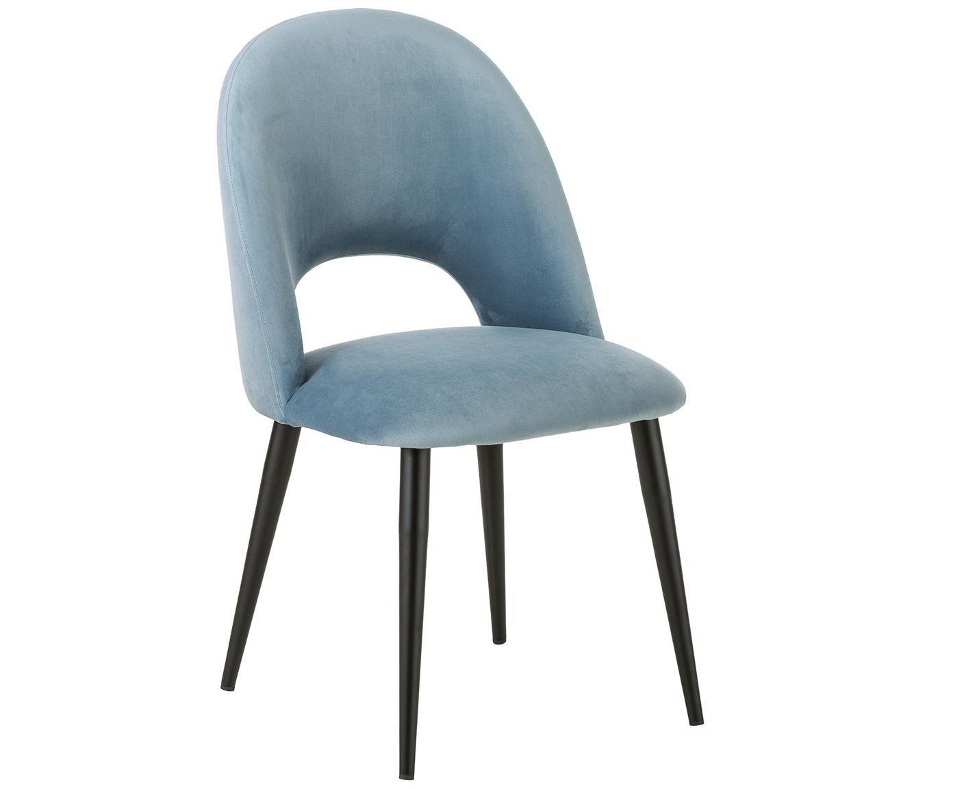 Fluwelen stoel Rachel, Bekleding: fluweel (hoogwaardige pol, Poten: gepoedercoat metaal, Lichtblauw, B 53 x D 57 cm
