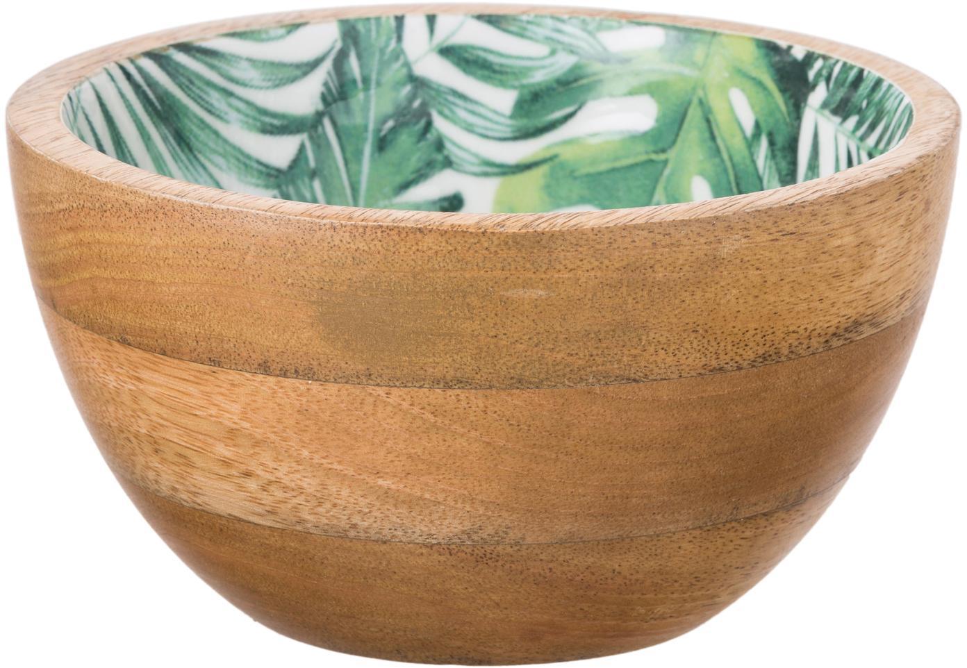 Miseczka z drewna mangowego Alina, Drewno mangowe, Drewno mangowe, zielony, biały, Ø 16 x W 9 cm