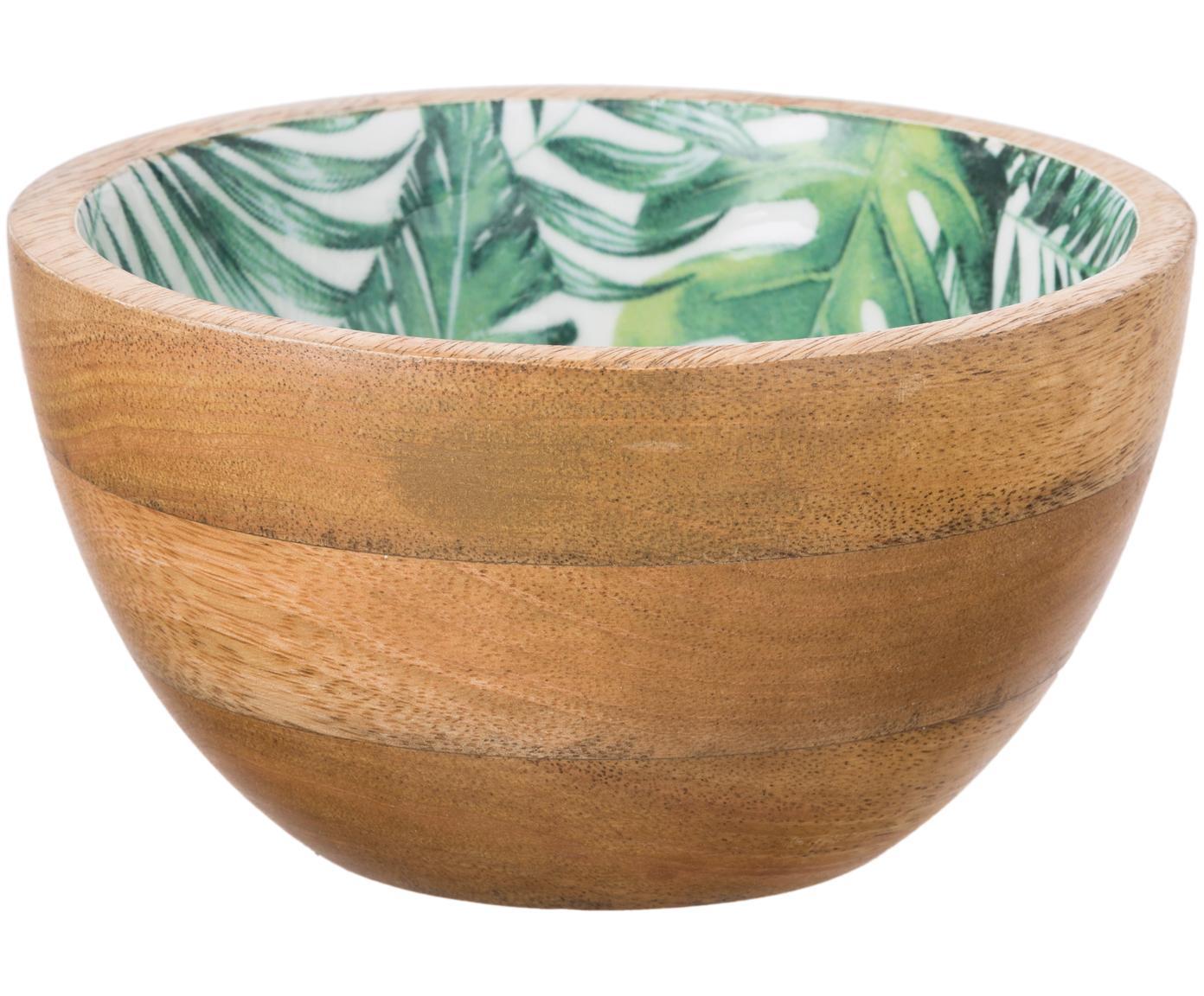 Mangoholz-Schälchen Alina mit tropischem Motiv, Mangoholz, Mangoholz, Grün, Weiß, Ø 16 x H 9 cm