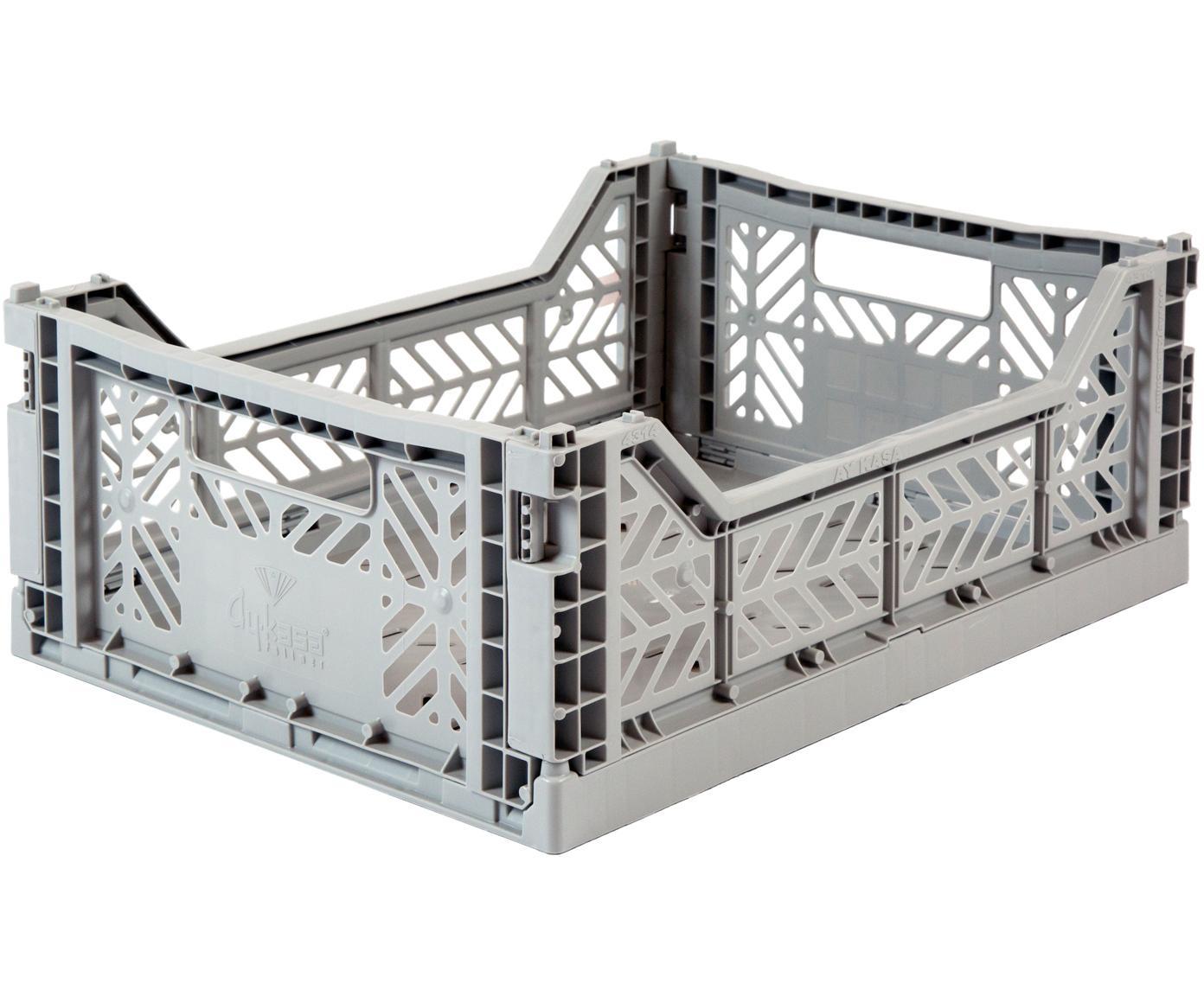 Średnie składane pudełko do przechowywania Grey, Tworzywo sztuczne z recyklingu, Szary, S 40 x W 14 cm