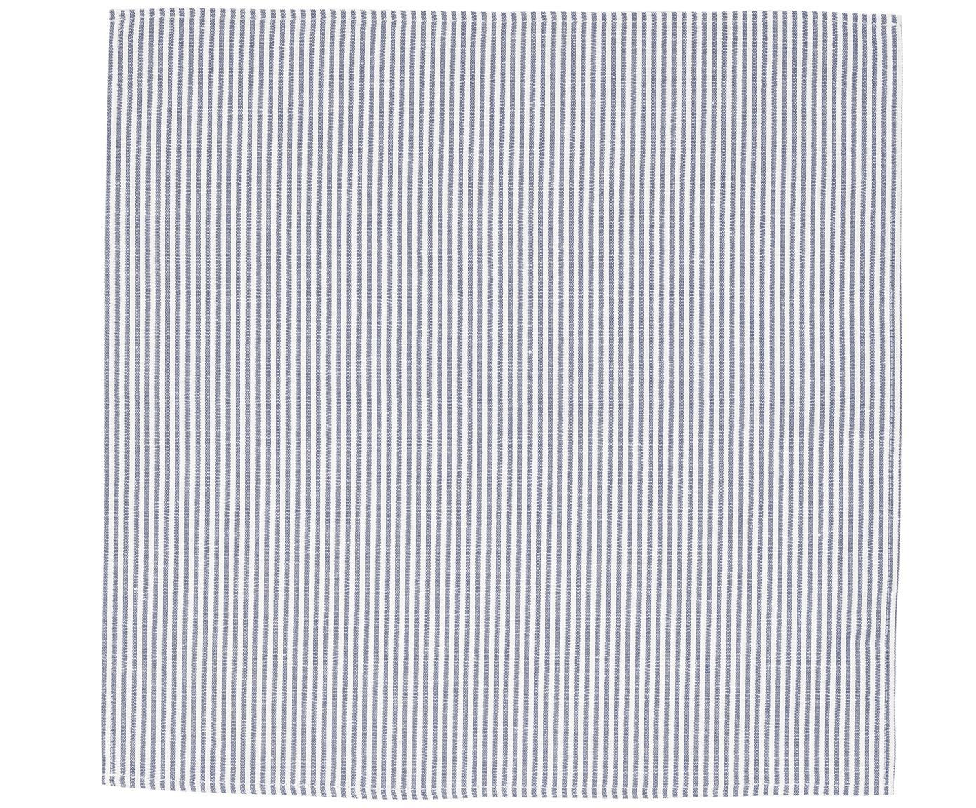 Stoff-Serviette Streifen aus Halbleinen, Weiss, Blau, 45 x 45 cm
