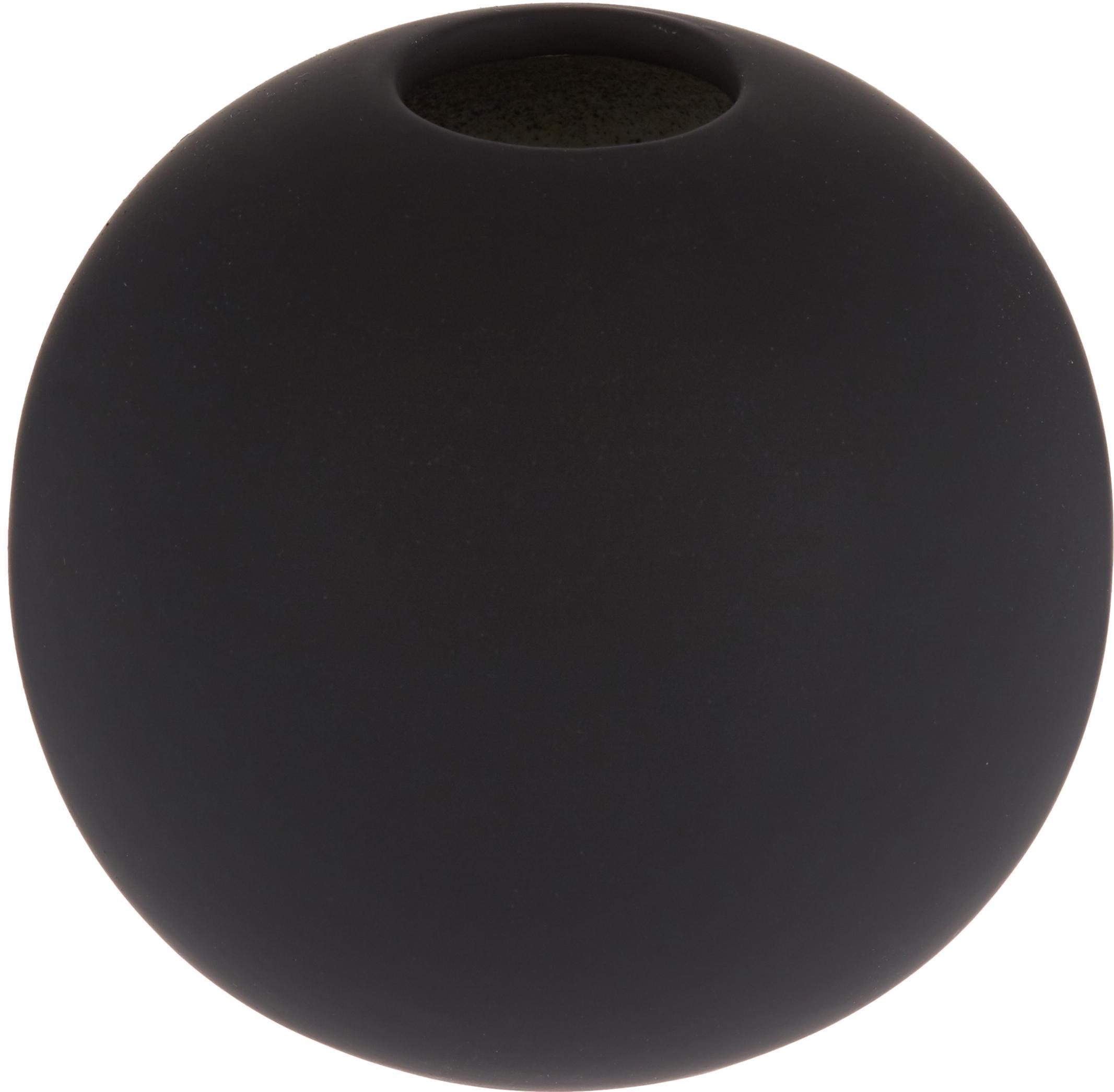 Handgemaakte bolvormige vaas Ball, Keramiek, Zwart, Ø 8 x H 8 cm