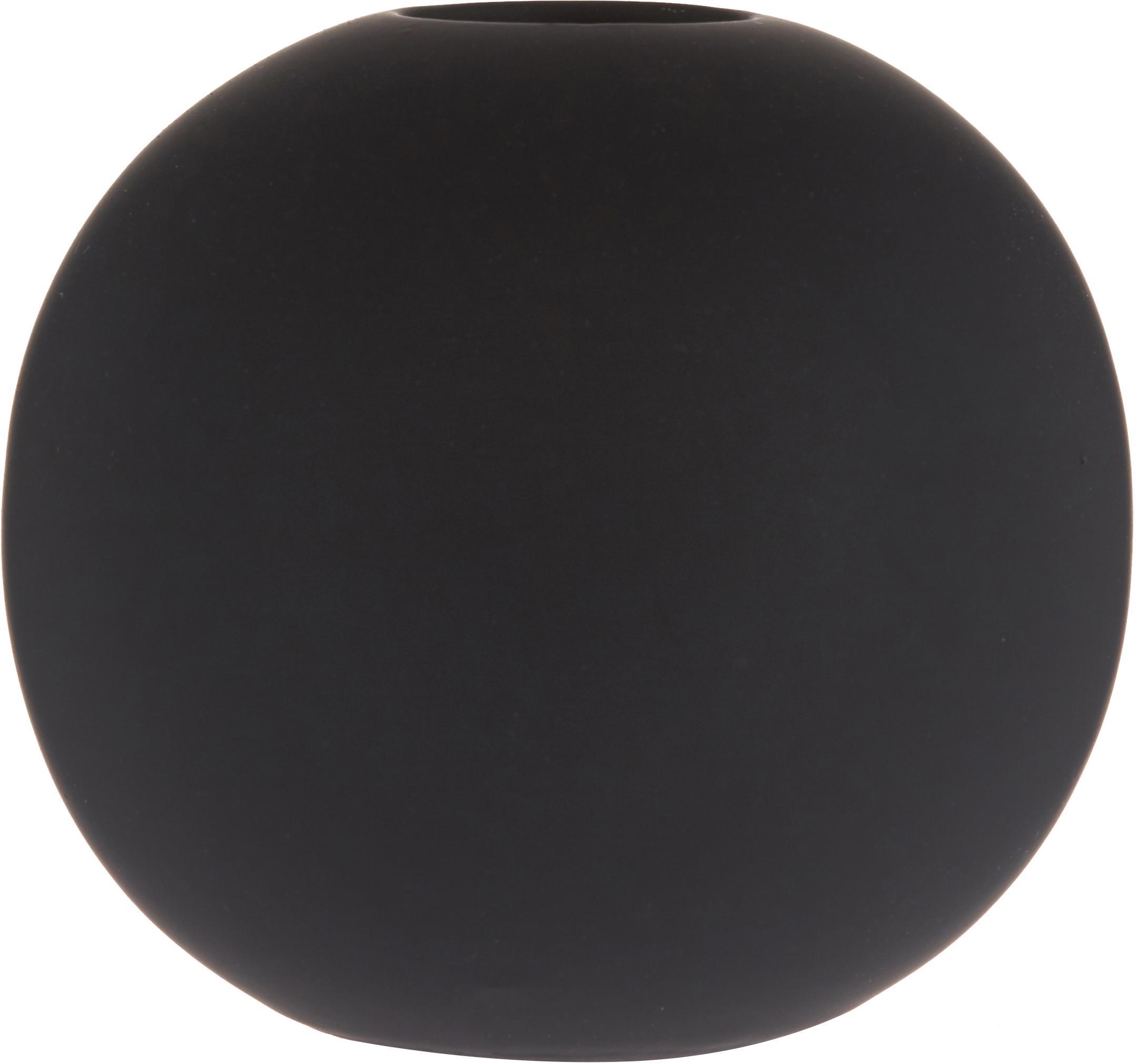 Vaso a sfera fatto a mano Ball, Ceramica, Nero, Ø 8 x Alt. 8 cm