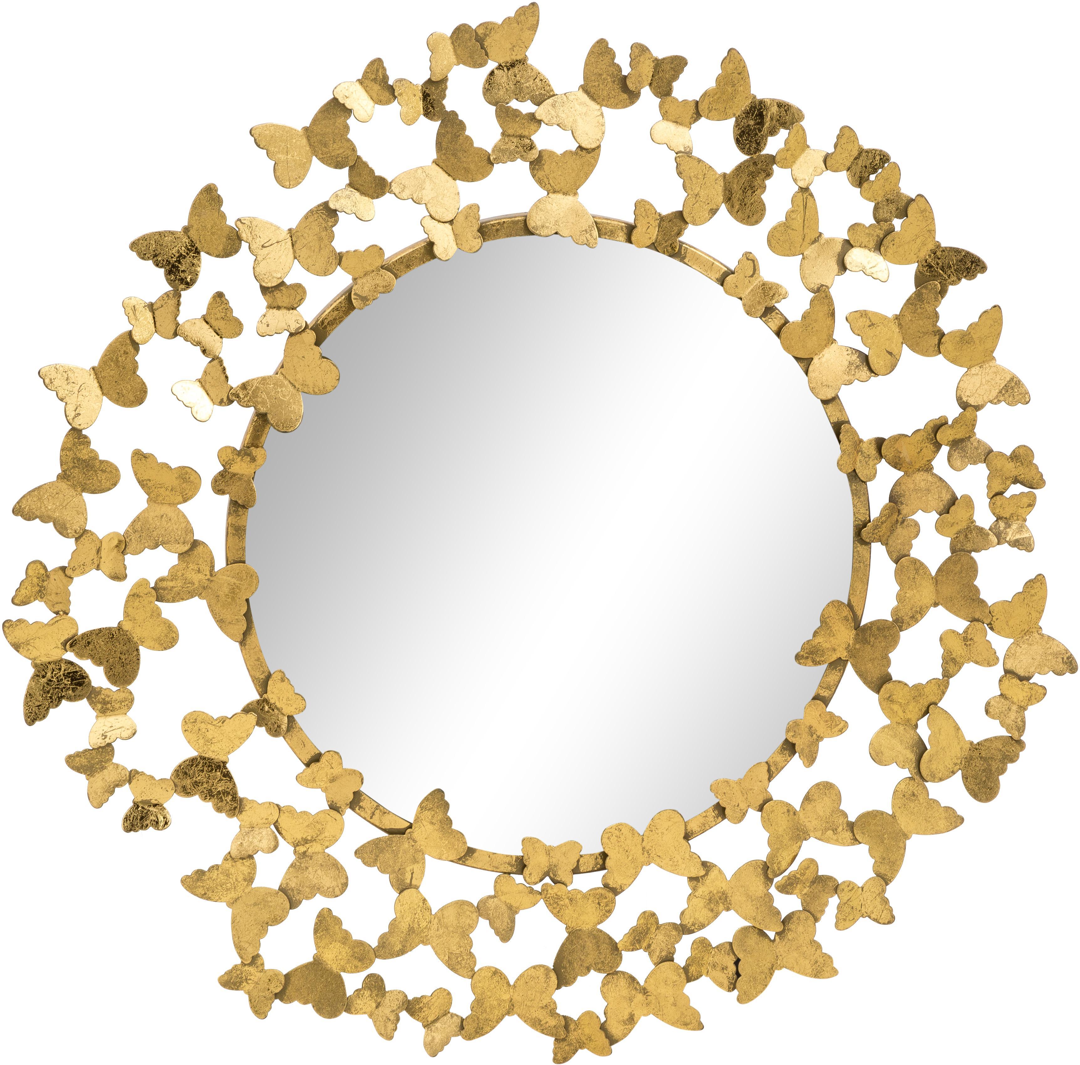 Runder Wandspiegel Butterfly mit Goldrahmen, Rahmen: Metall, Rückseite: Mitteldichte Holzfaserpla, Spiegelfläche: Spiegelglas, Goldfarben, Ø 92 cm