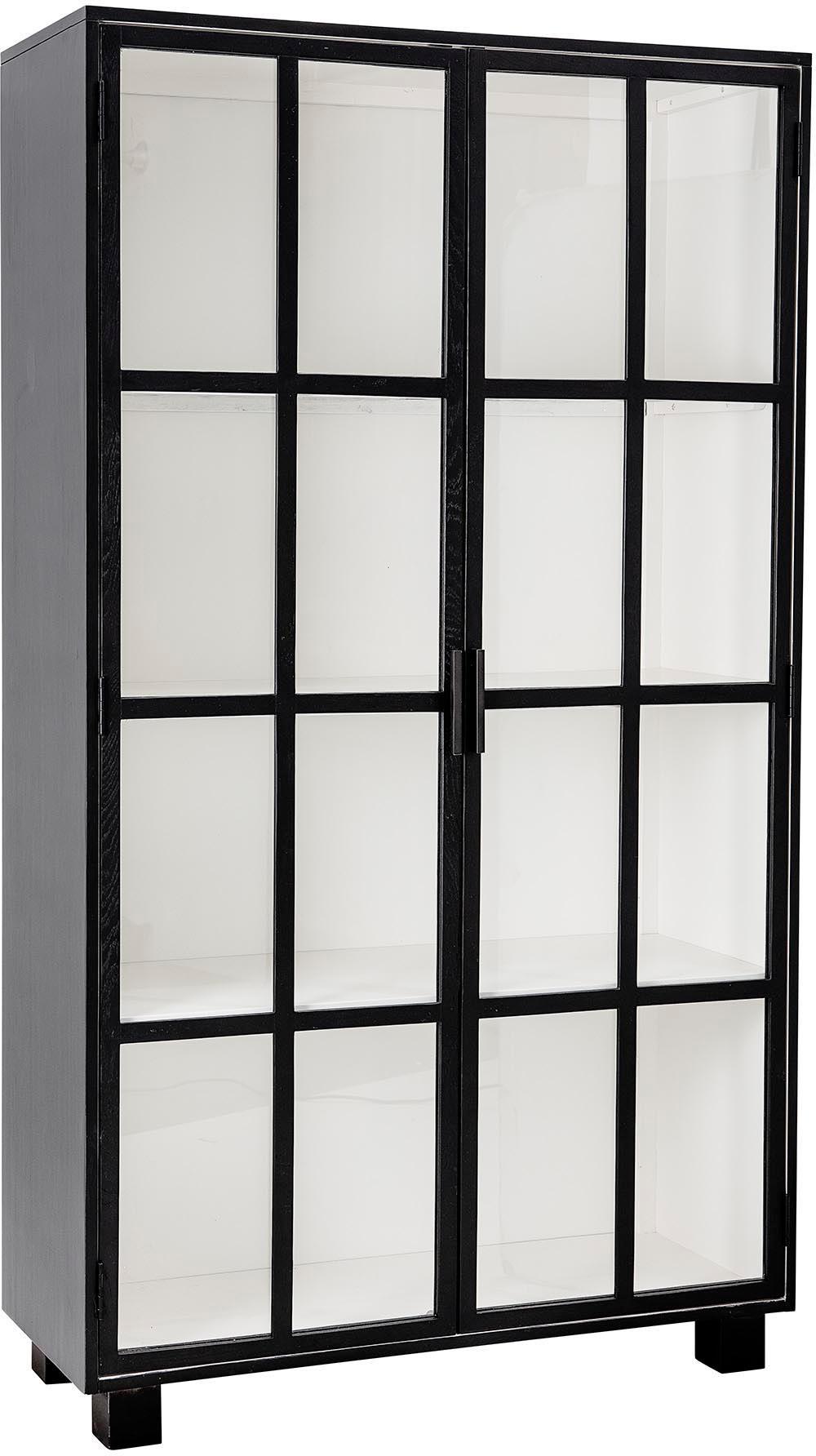 Vitrinenschrank Isbel mit Glastüren, Korpus: Mitteldichte Holzfaserpla, Schwarz, Weiß, 114 x 200 cm