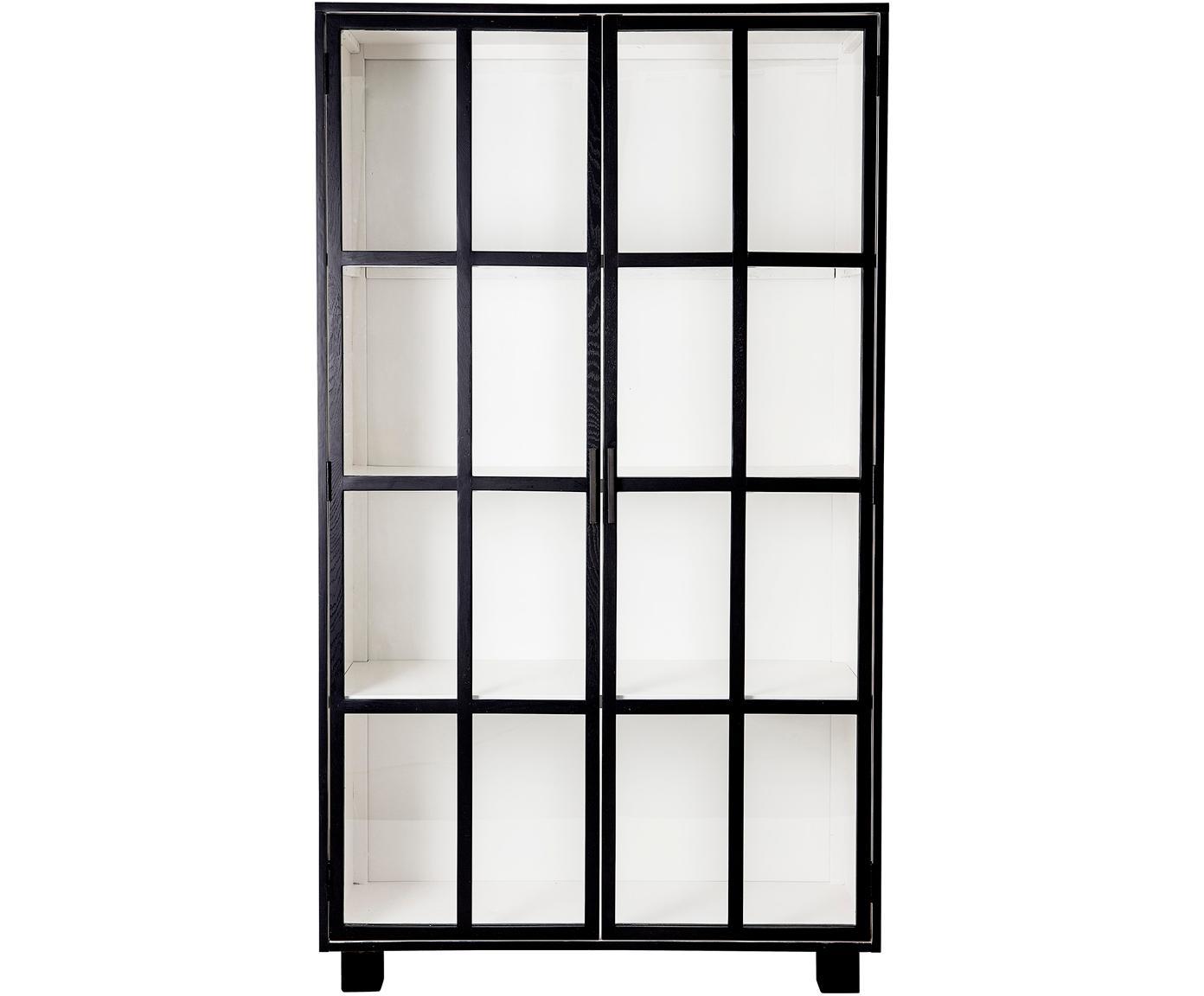 Kredens ze szklanymi drzwiczkami Isbel, Korpus: płyta pilśniowa średniej , Czarny, biały, S 114 x D 200 cm