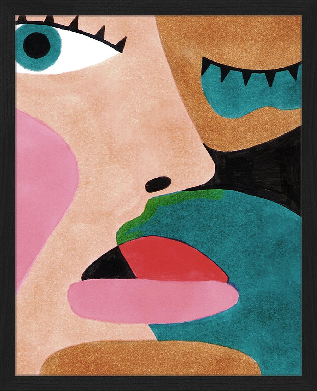 Oprawiony druk cyfrowy Close Up Face, Wielobarwny, S 43 x W 53 cm