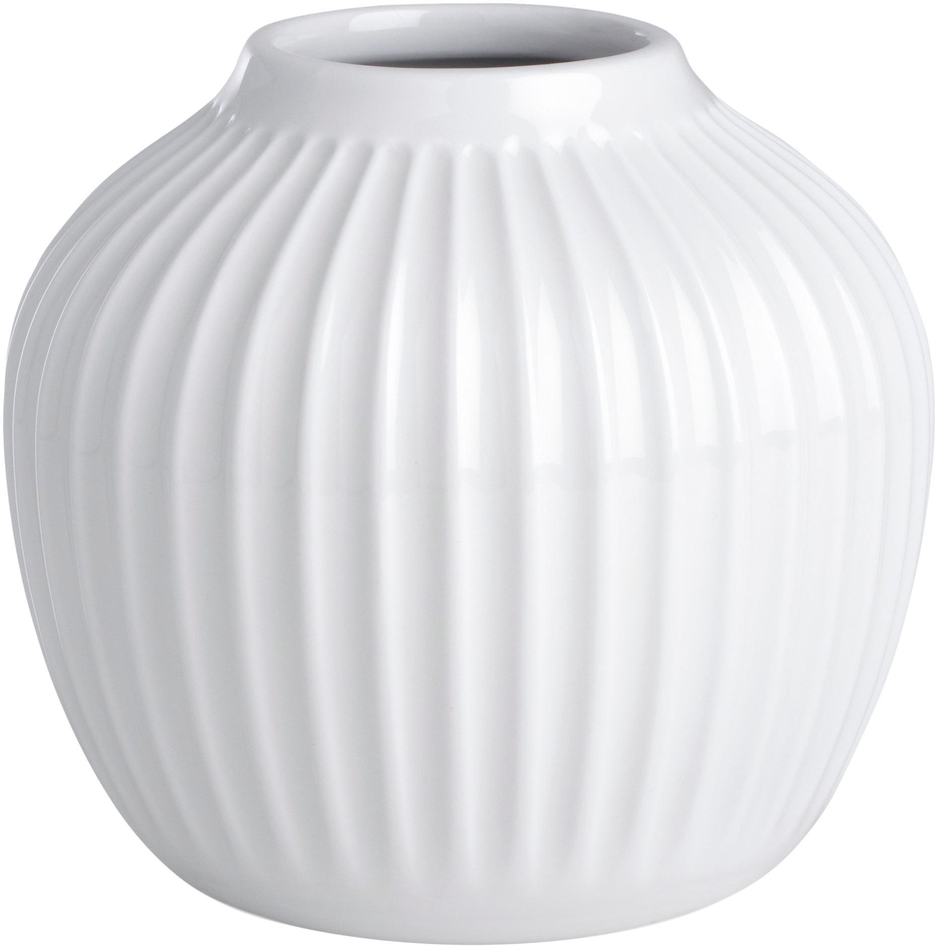 Kleine handgefertigte Design-Vase HammershØi, Porzellan, Weiss, Ø 14 x H 13 cm