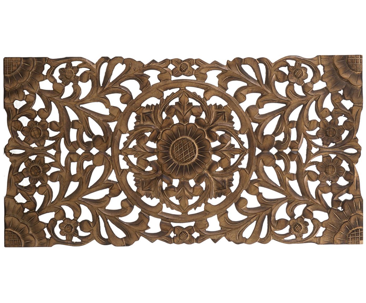 Handgemaakt decoratief wandobject Samira met antieke finish, MDF, Bruin met antieke afwerking, 85 x 45 cm