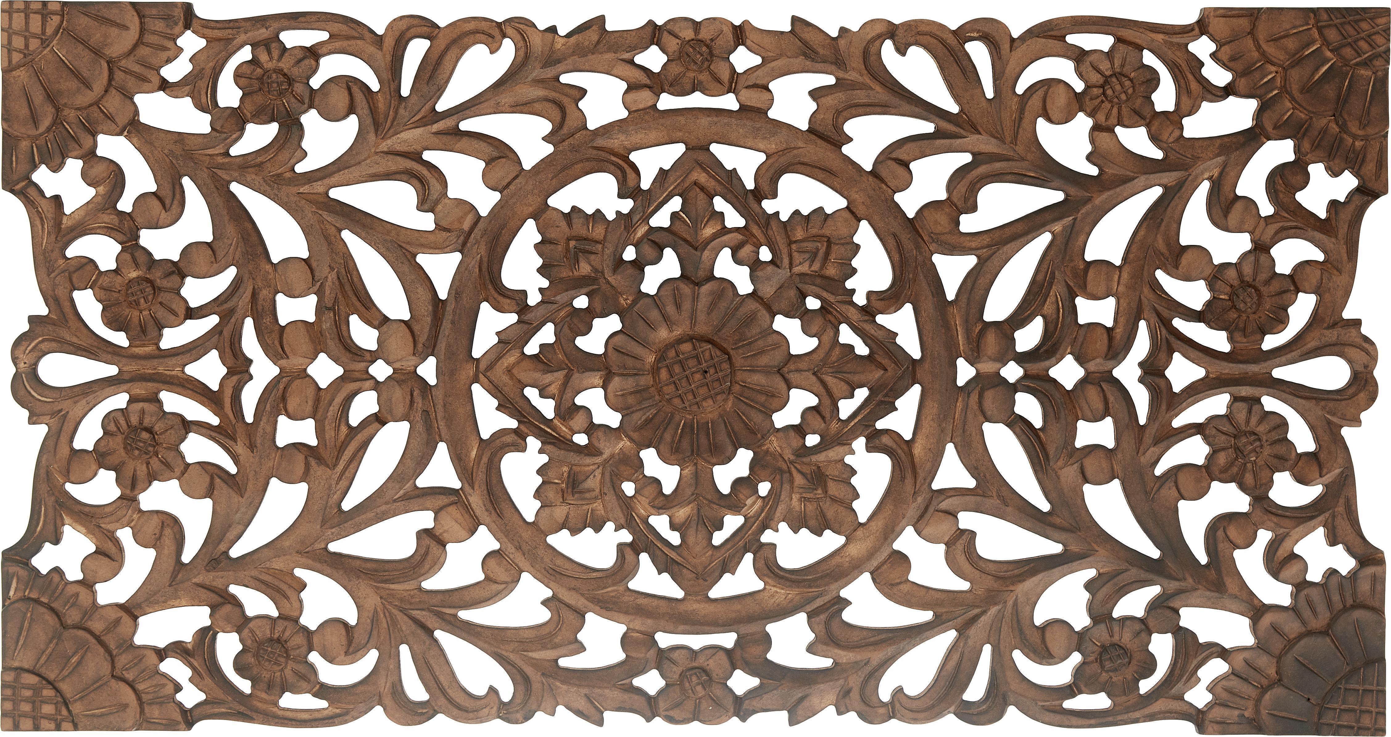 Decoración de pared artesal Samira, Tablero de fibras de densidad media(MDF), Marrón efecto envejecido, An 85 x Al 45 cm