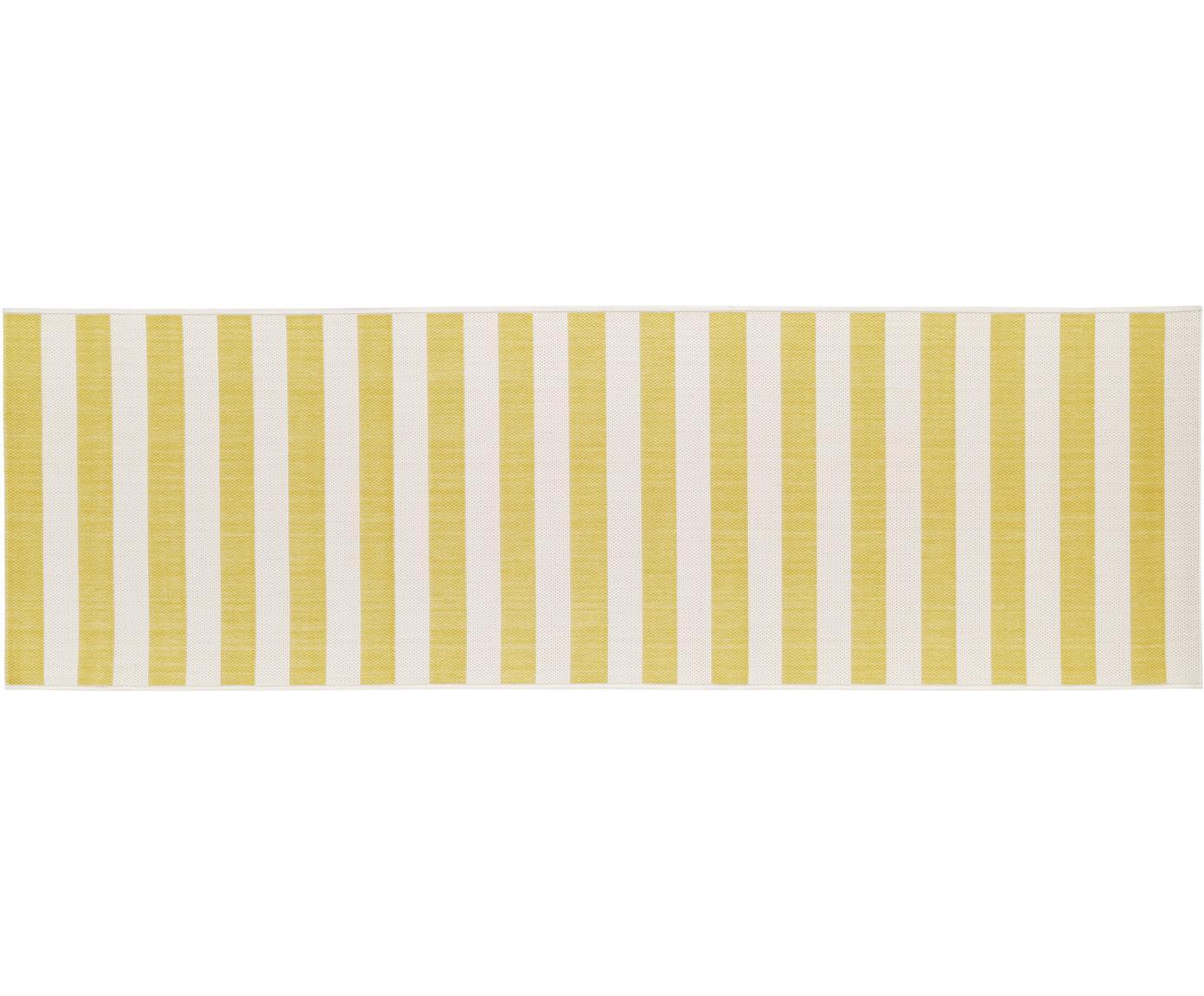 Gestreepte in- & outdoor loper Axa, Bovenzijde: polypropyleen, Onderzijde: polyester, Crèmewit, geel, 80 x 250 cm