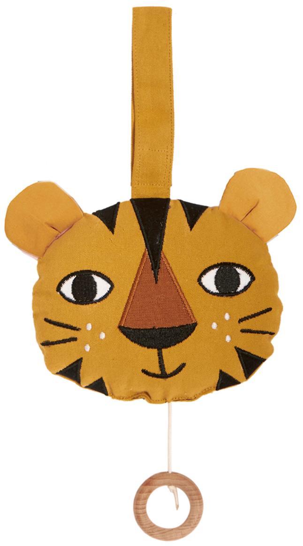 Sonajero colgante artesanal Tiger, Algodón, Amarillo, An 14 x Al 14 cm