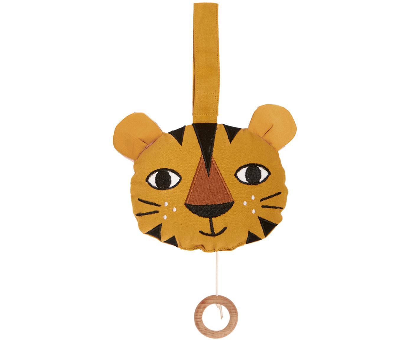 Handgefertigte Spieluhr Tiger, Baumwolle, GOTS- und OCS-zertifiziert, Gelb, 14 x 14 cm