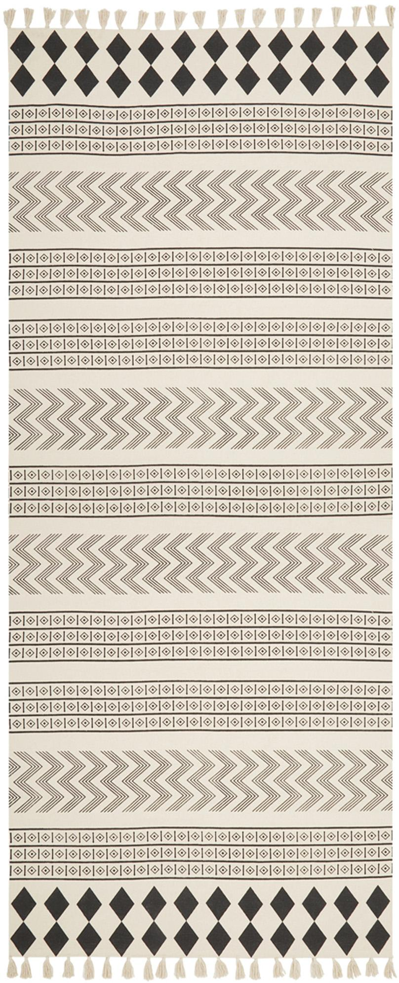 Ręcznie tkany bieżnik z bawełny Edna, 100 % bawełna, Kremowobiały, czarny, S 80 x D 250 cm