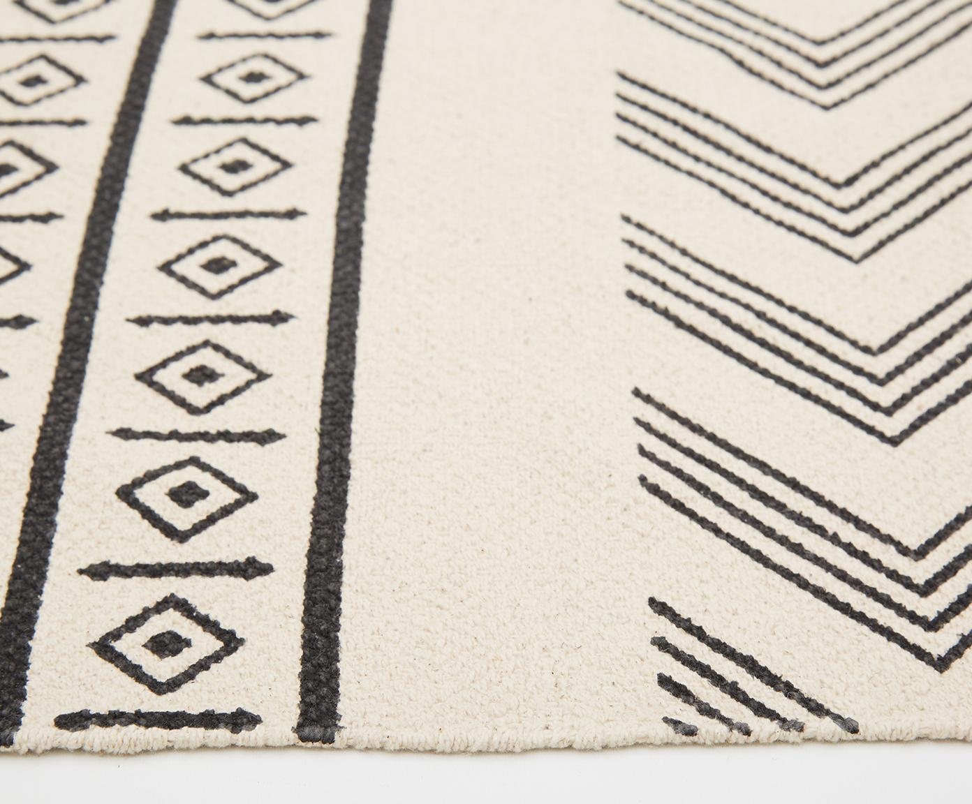 Passatoia in cotone tessuta a mano Edna, Cotone, Bianco crema, nero, Larg. 80 x Lung. 250 cm