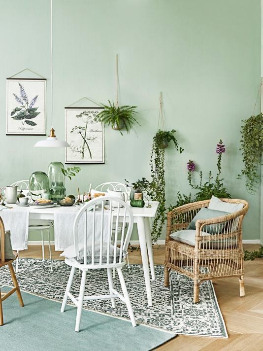 Tapis intérieur extérieur vintage, réversible Curacao, Vert, couleur crème
