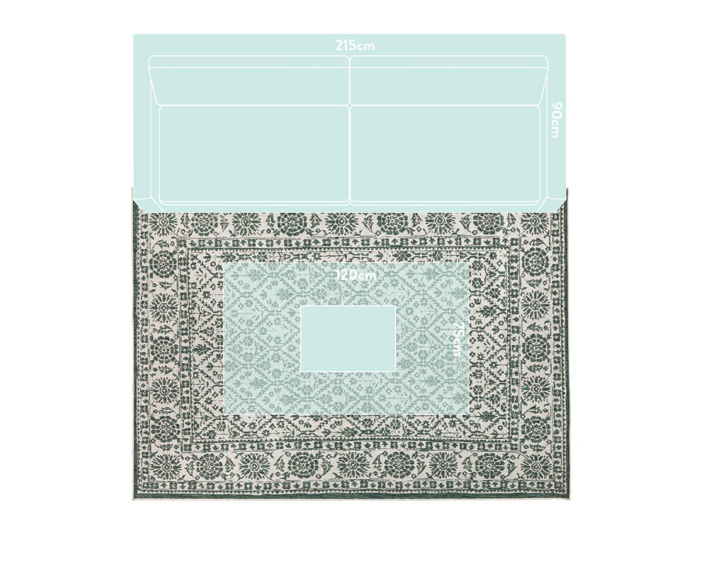 Alfombra reversible de interior/exterior Curacao, estilo vintage, Verde, crema, An 160 x L 230 cm (Tamaño M)