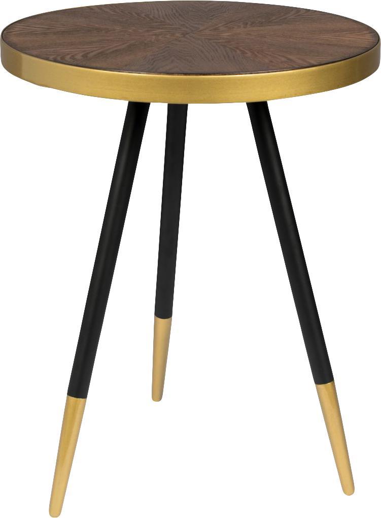 Ronde bijzettafel Denise, Tafelblad: MDF met essenhoutfineer, Essenhoutkleurig, goudkleurig, Ø 45 x H 45 cm