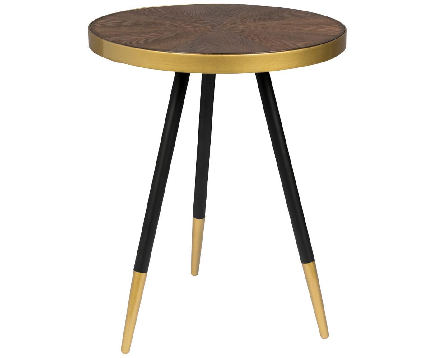 Mesa auxiliar redonda Denise, Tablero: fibras de densidad media , Madera de fresno, dorado, Ø 45 x Al 45 cm