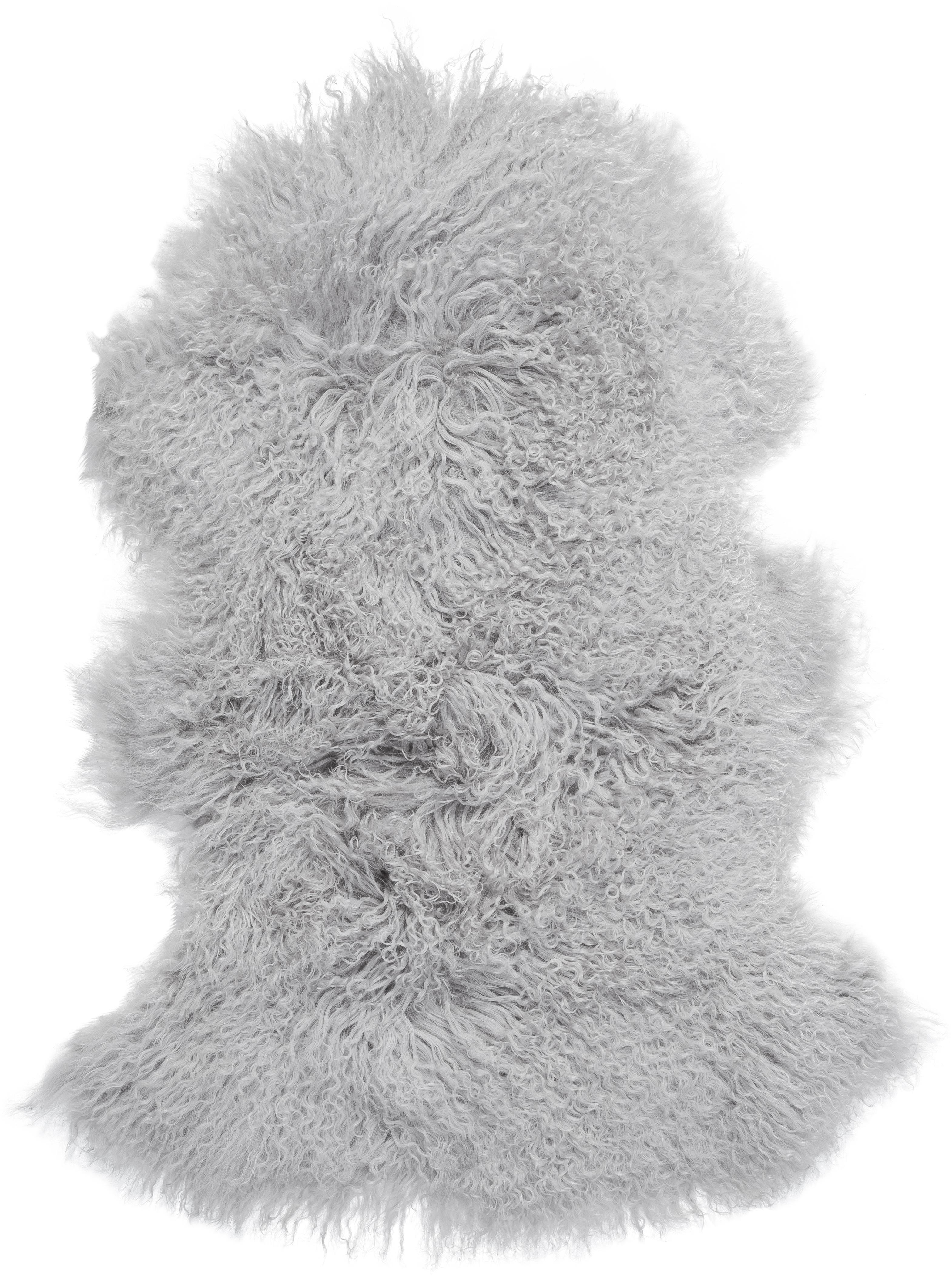 Langhaar-Lammfell Ella, gelockt, Vorderseite: Mongolisches Lammfell, Rückseite: Leder, Hellgrau, 50 x 80 cm