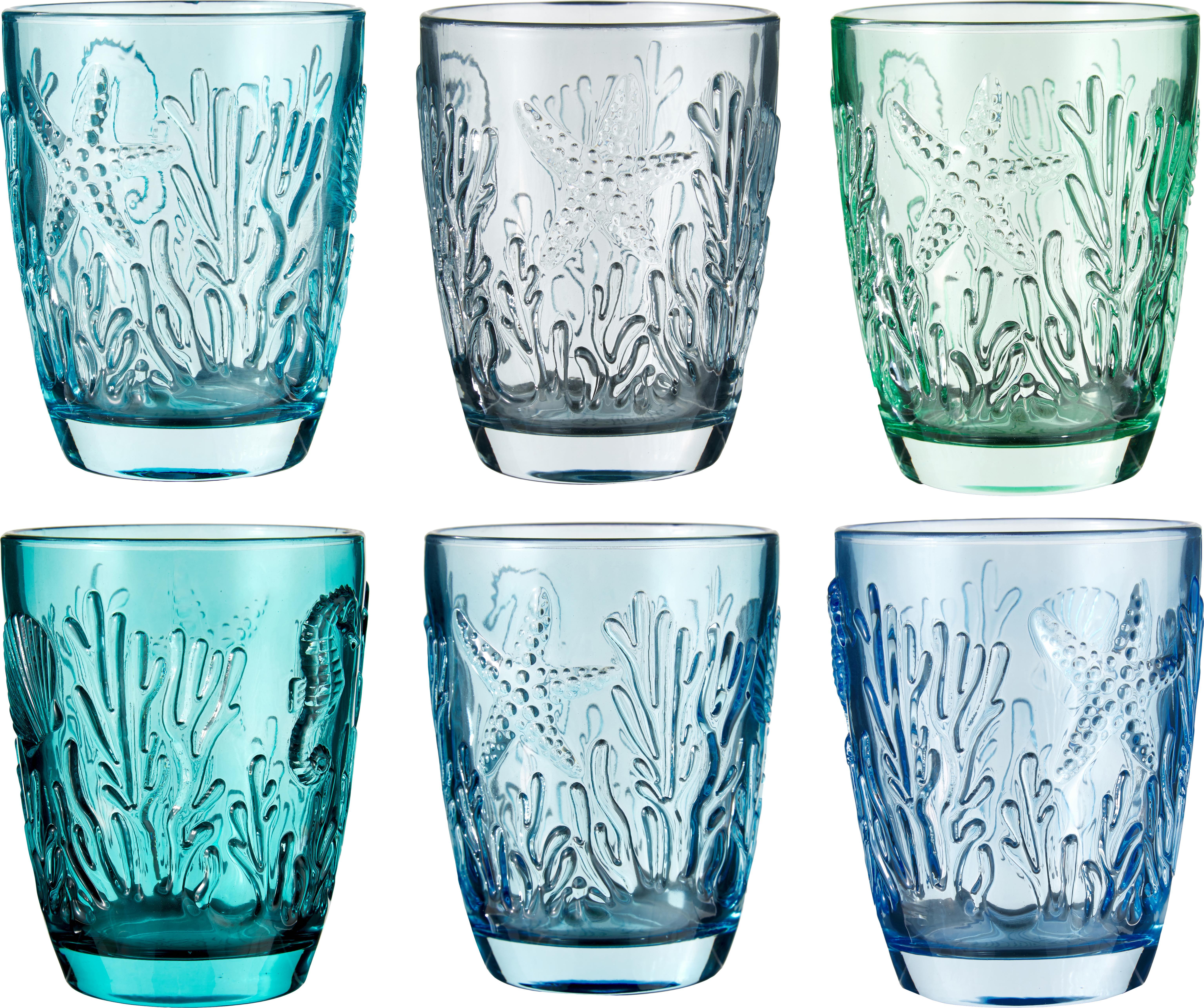 Wassergläser Pantelleria mit Muschelrelief in Blautönen, 6er-Set, Glas, Blautöne, Ø 8 x 10 cm