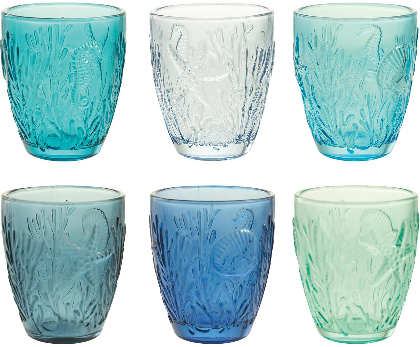Vasos de colores con relieve Pantelleria, 6uds., Vidrio, Azul, Ø 8 x 10 cm
