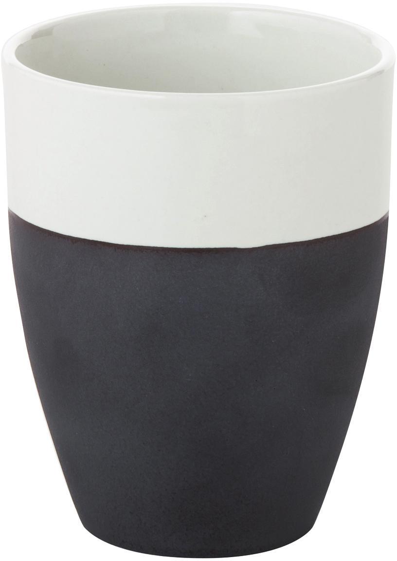 Tazza senza manico fatta a mano Esrum 4 pz, Sotto: terracotta naturale, Avorio, marrone grigio, 250 ml