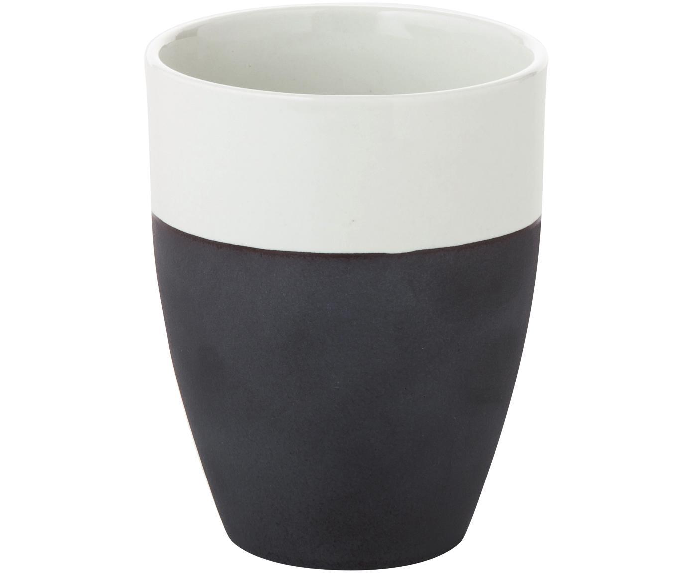 Handgemachte Becher Esrum matt/glänzend, 4 Stück, Unten: Steingut, naturbelassen, Elfenbeinfarben, Graubraun, 250 ml