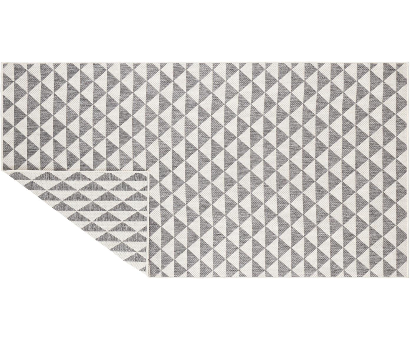 In- & outdoor vloerkleed met patroon Tahiti in grijs/crèmekleur, Polypropyleen, Grijs, crèmekleurig, B 80 x L 150 cm (maat XS)