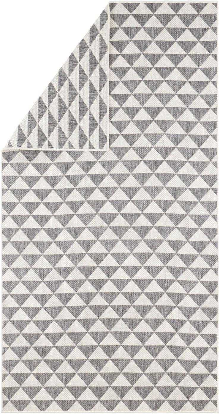 In- & outdoor vloerkleed met patroon Tahiti in grijs/crème kleur, Polypropyleen, Grijs, crèmekleurig, B 80 x L 150 cm (maat XS)