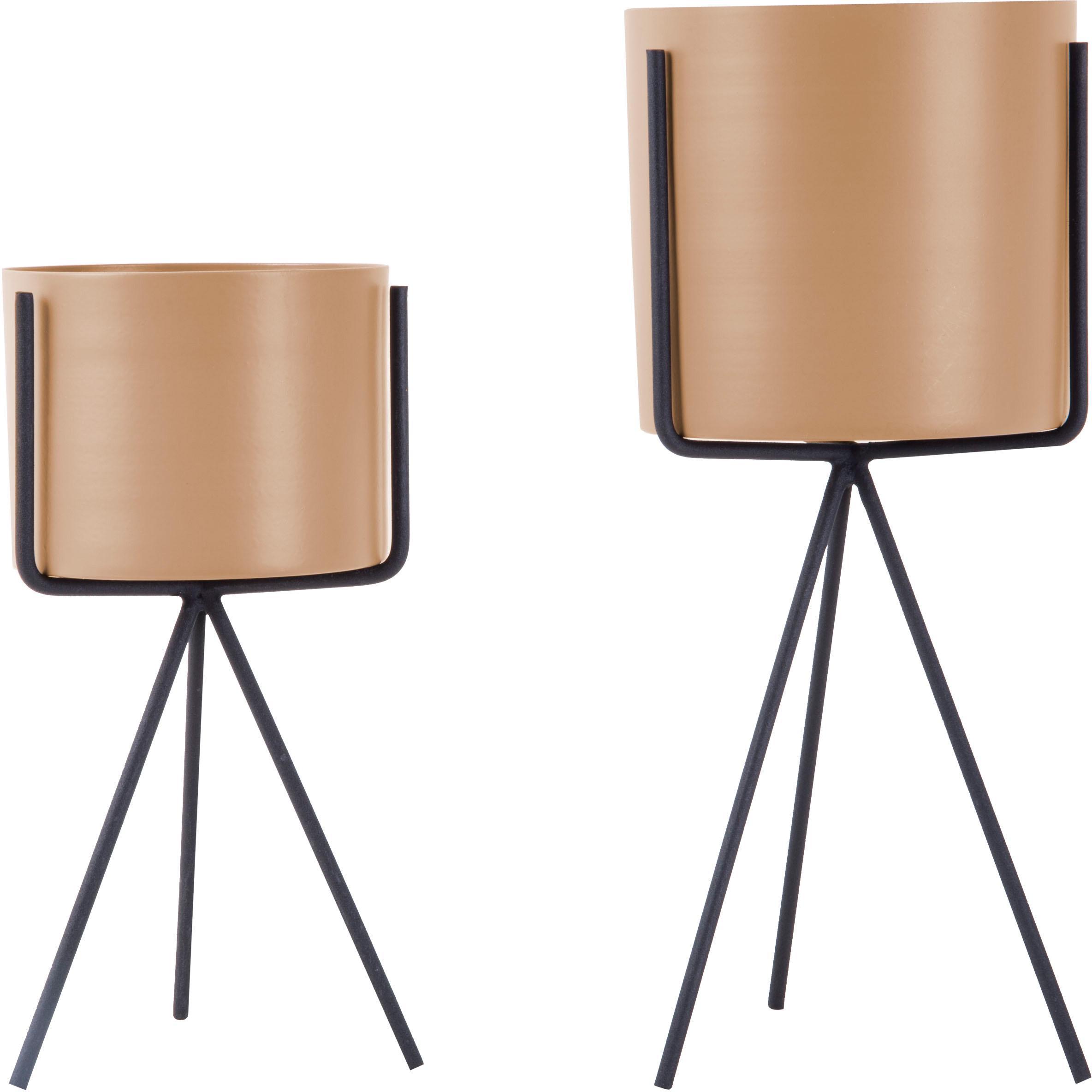 Übertöpfe-Set Pedestal, 2-tlg., Metall, beschichtet, Sandfarben, Schwarz, Ø 13 x H 30 cm