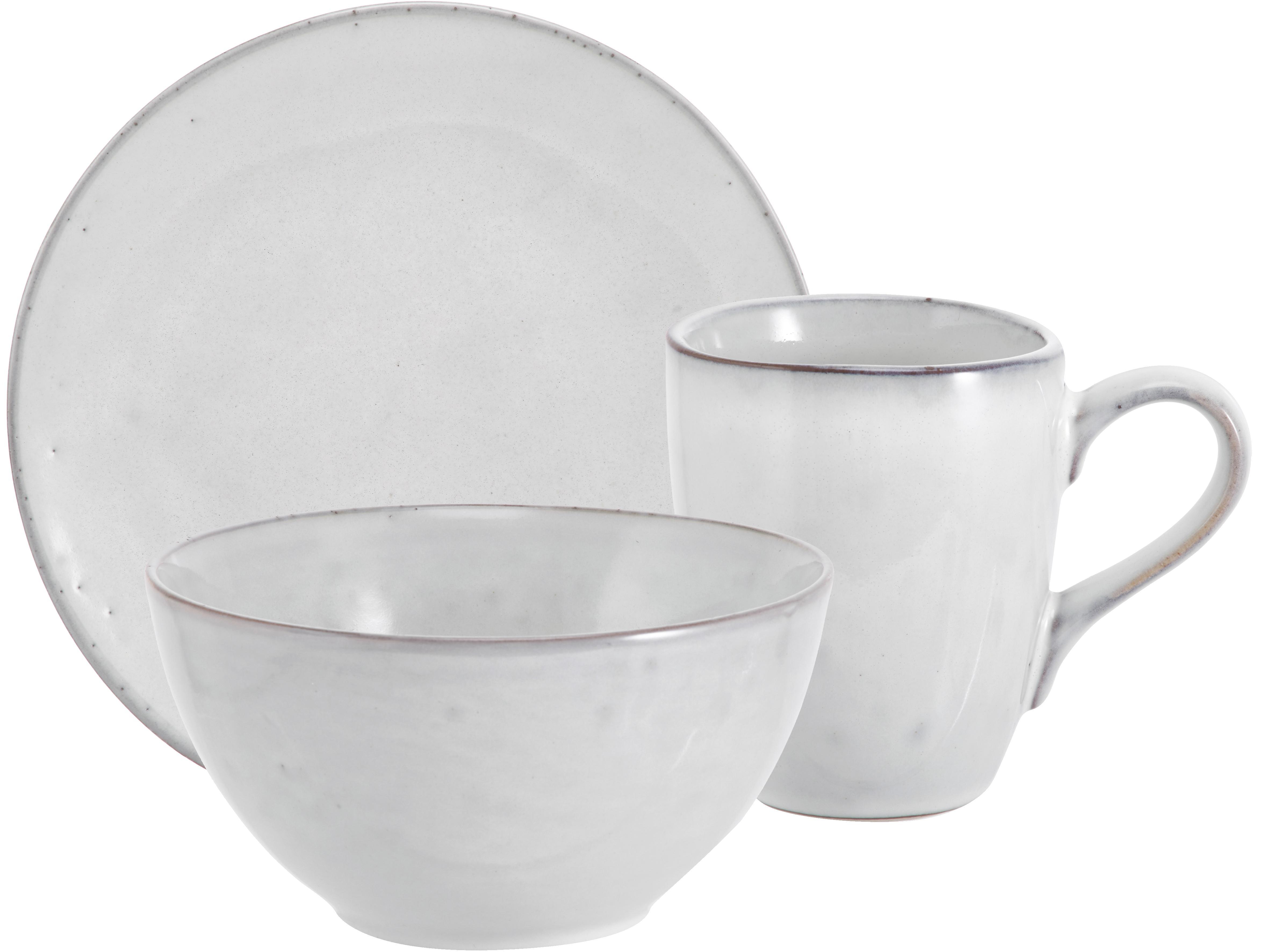 Handgemachtes Frühstücks-Set Nordic Sand aus Steingut, 4 Personen (12-tlg.), Steingut, Beige, Verschiedene Grössen