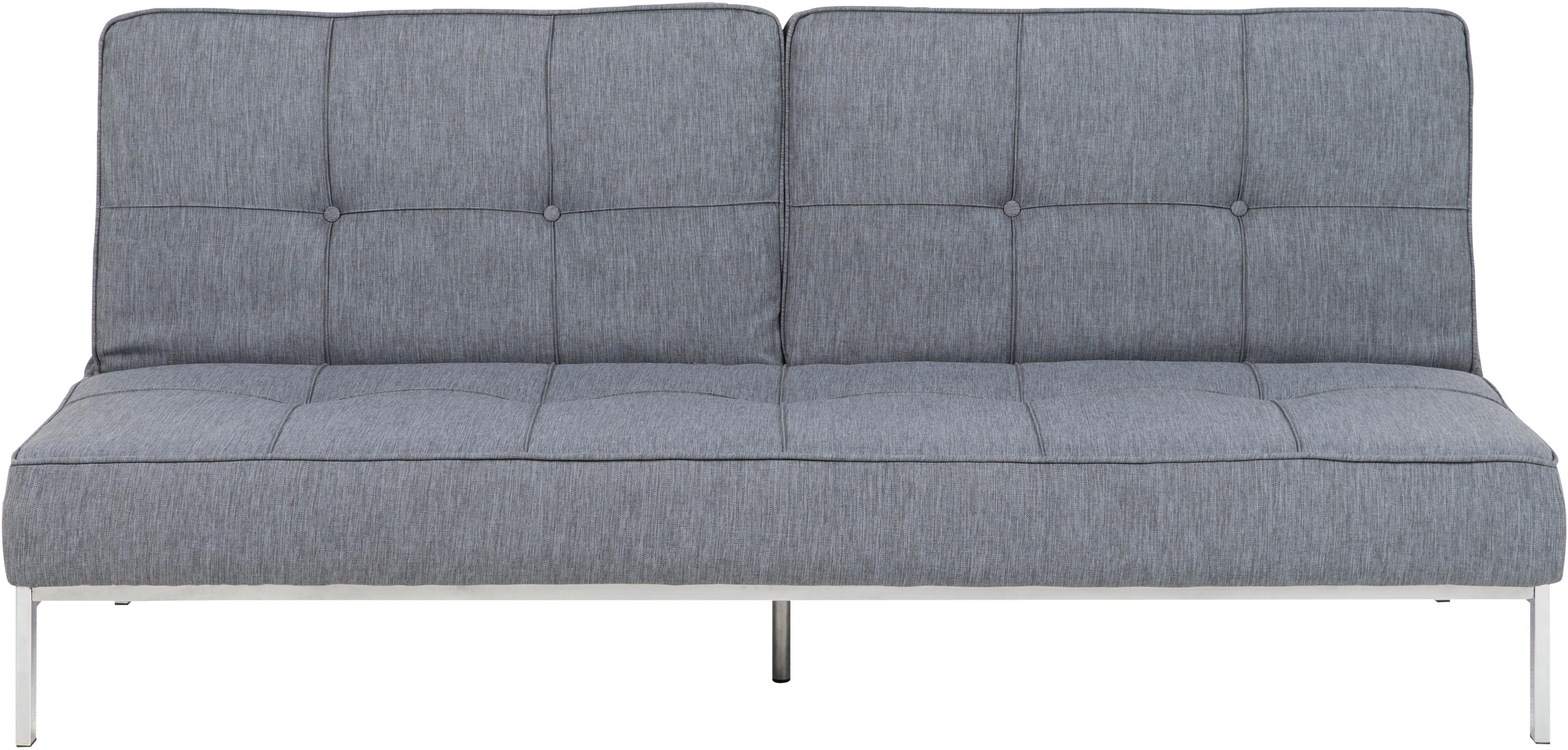 Schlafsofa Perugia in Grau, Bezug: Polyester Der hochwertige, Füße: Metall, lackiert, Hellgrau, B 198 x T 95 cm