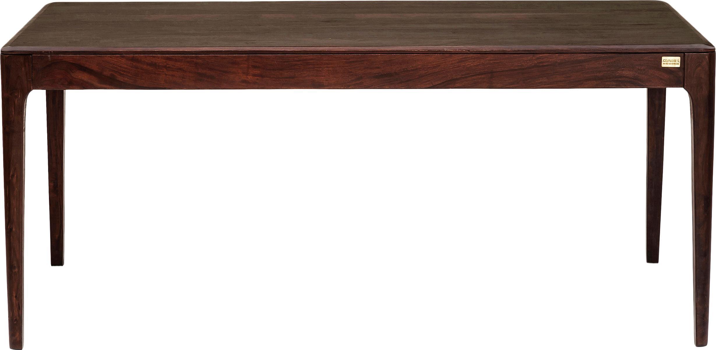 Massivholz Esstisch Brooklyn, Sheeshamholz, egalisierte Beize mit Wasserlack in Nussbaumfarben, Nussbaumfarben, B 200 x T 100 cm