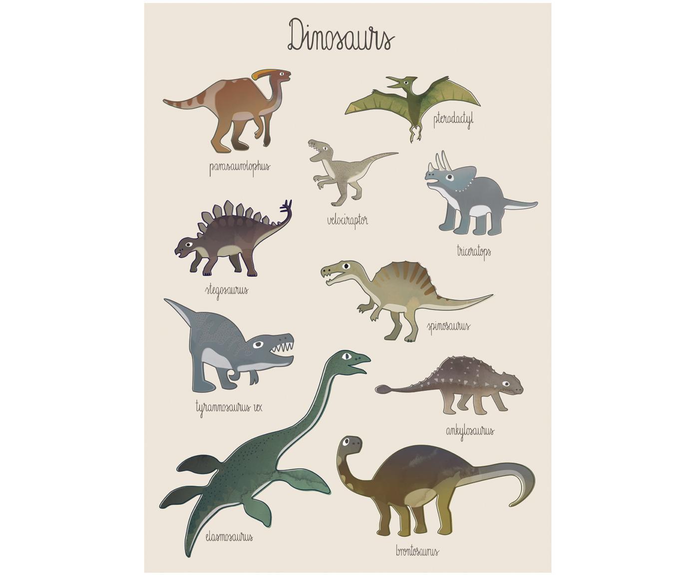 Plakat Dino, Papier artystyczny, 250 g / m², Wielobarwny, S 50 x W 70 cm