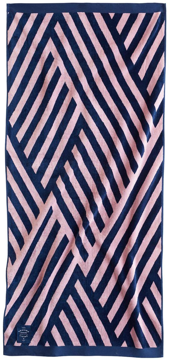 Gemustertes Strandtuch Bonsall in Rosa/Blau, 100% Bio-Baumwolle, GOTS-zertifiziert, mittelschwere Qualität, 450 g/m², Dunkelblau, Pink, 80 x 180 cm