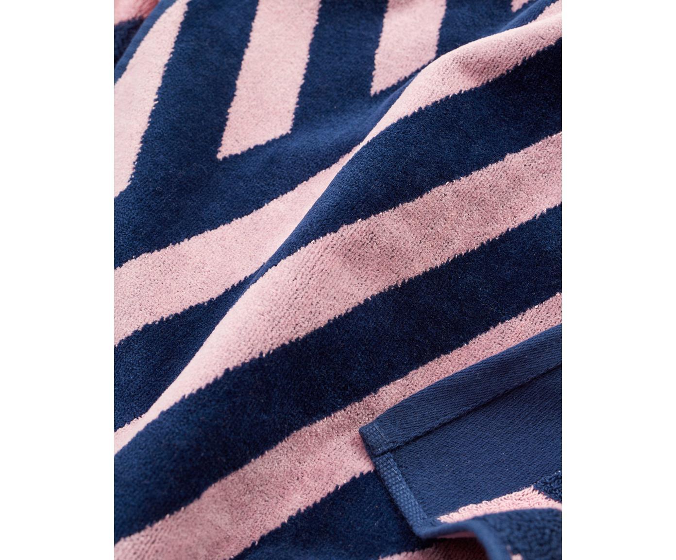 Ręcznik plażowy Bonsall, Bawełna organiczna, certyfikat GOTS, Średnia gramatura, 450 g/m², Ciemny niebieski, różowy, S 80 x D 180 cm