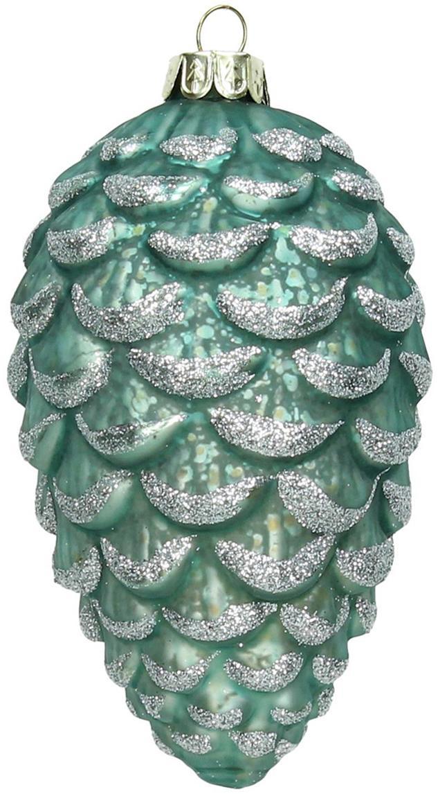Weihnachtszapfen Hein, 3 Stück, Glas, Türkis, Silberfarben, Ø 7 x H 12 cm