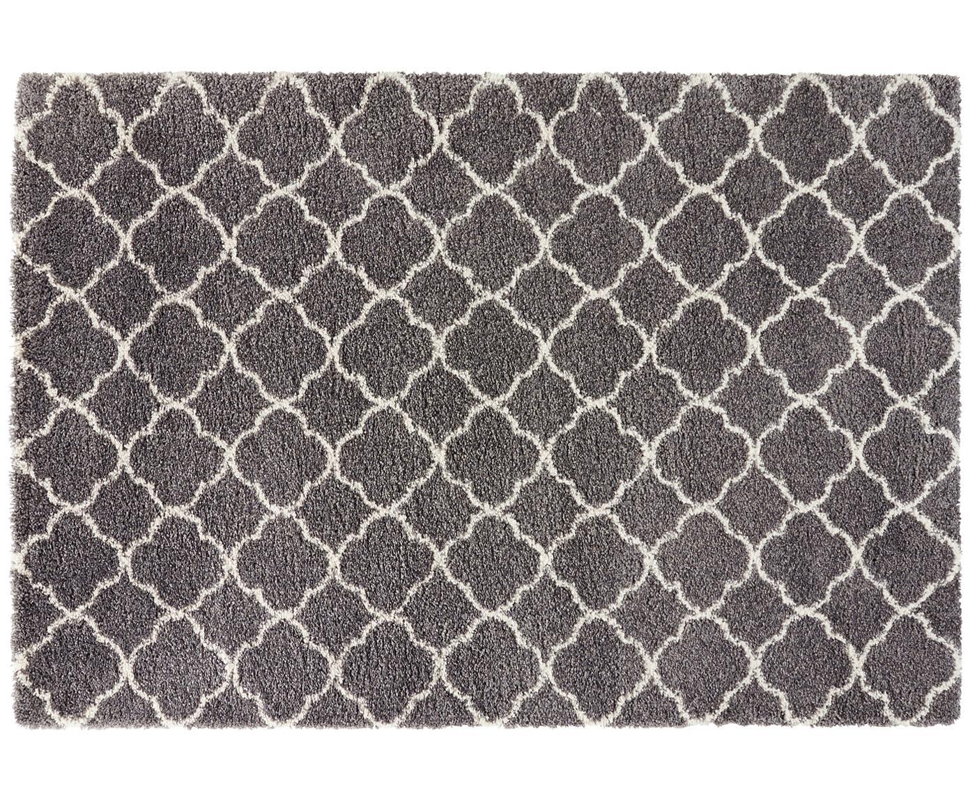 Hochflor-Teppich Grace in Dunkelgrau/Creme, Flor: 100% Polypropylen, Dunkelgrau, Creme, B 80 x L 150 cm (Grösse XS)