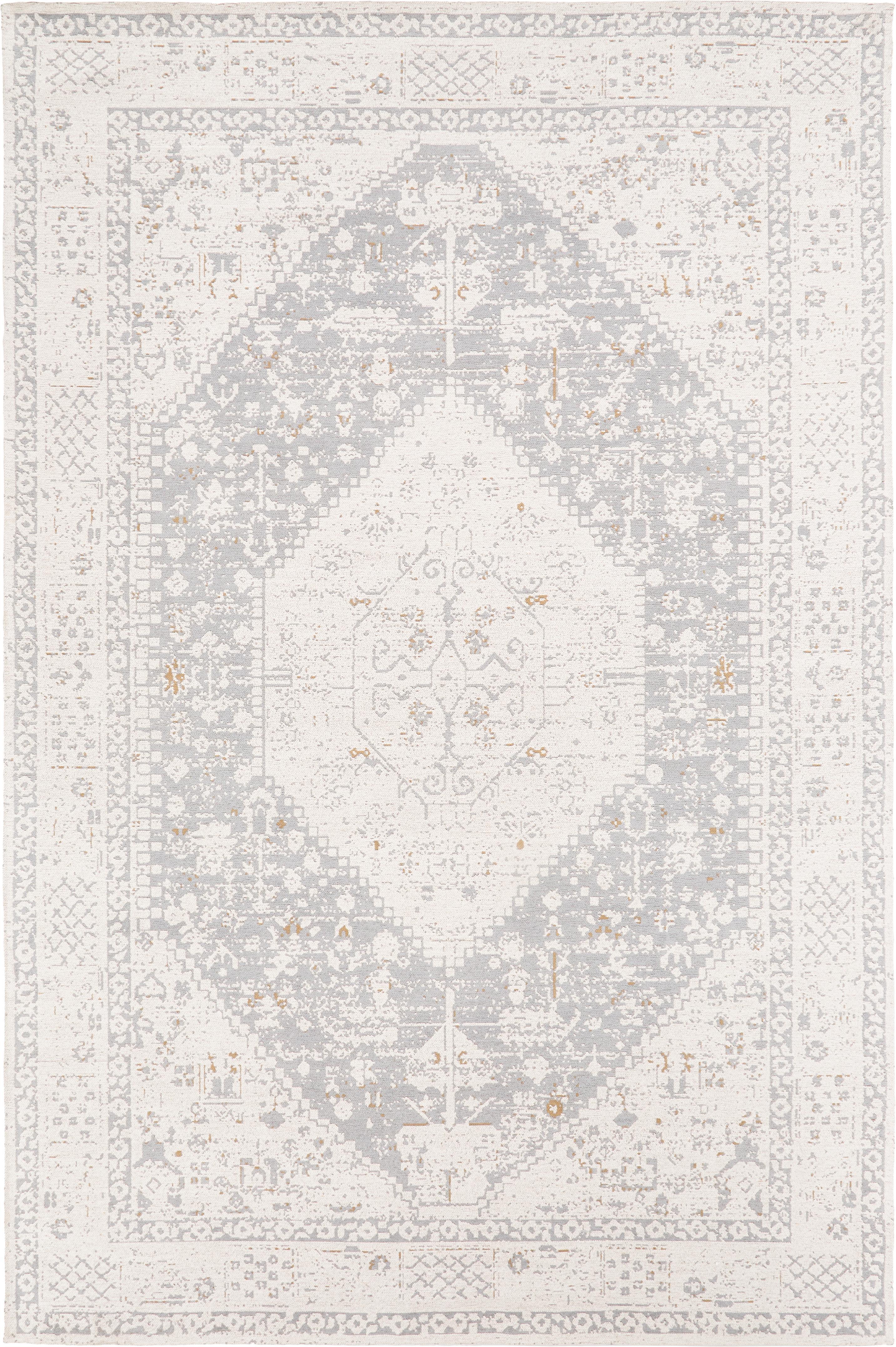 Handgeweven chenille vloerkleed Neapel in vintage stijl, Bovenzijde: 95% katoen, 5% polyester, Onderzijde: 100% katoen, Lichtgrijs, crèmekleurig, taupe, B 120 x L 180 cm (maat S)