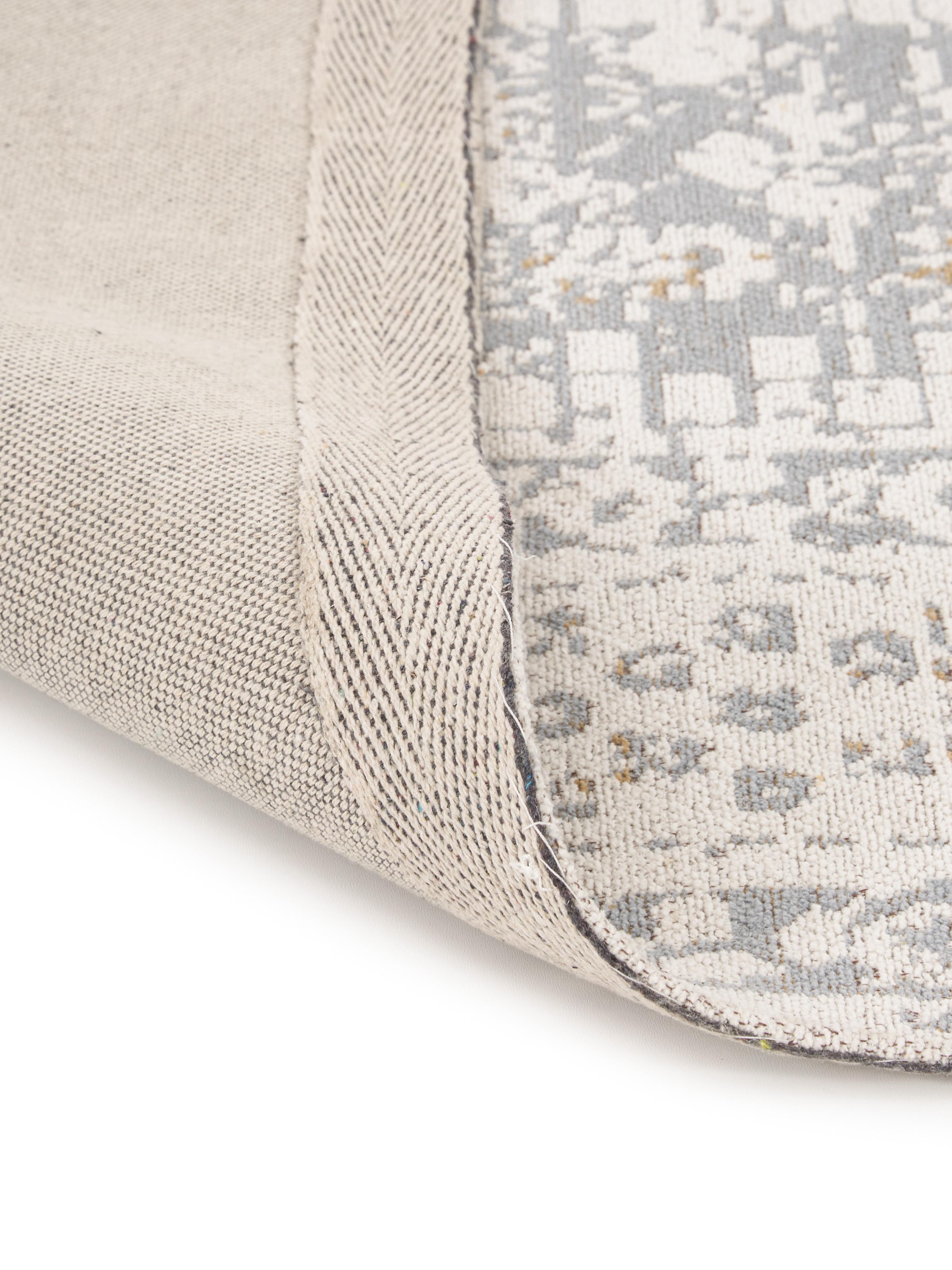 Handgewebter Chenilleteppich Neapel im Vintage Style, Flor: 95% Baumwolle, 5% Polyest, Hellgrau, Creme, Taupe, B 200 x L 300 cm (Größe L)