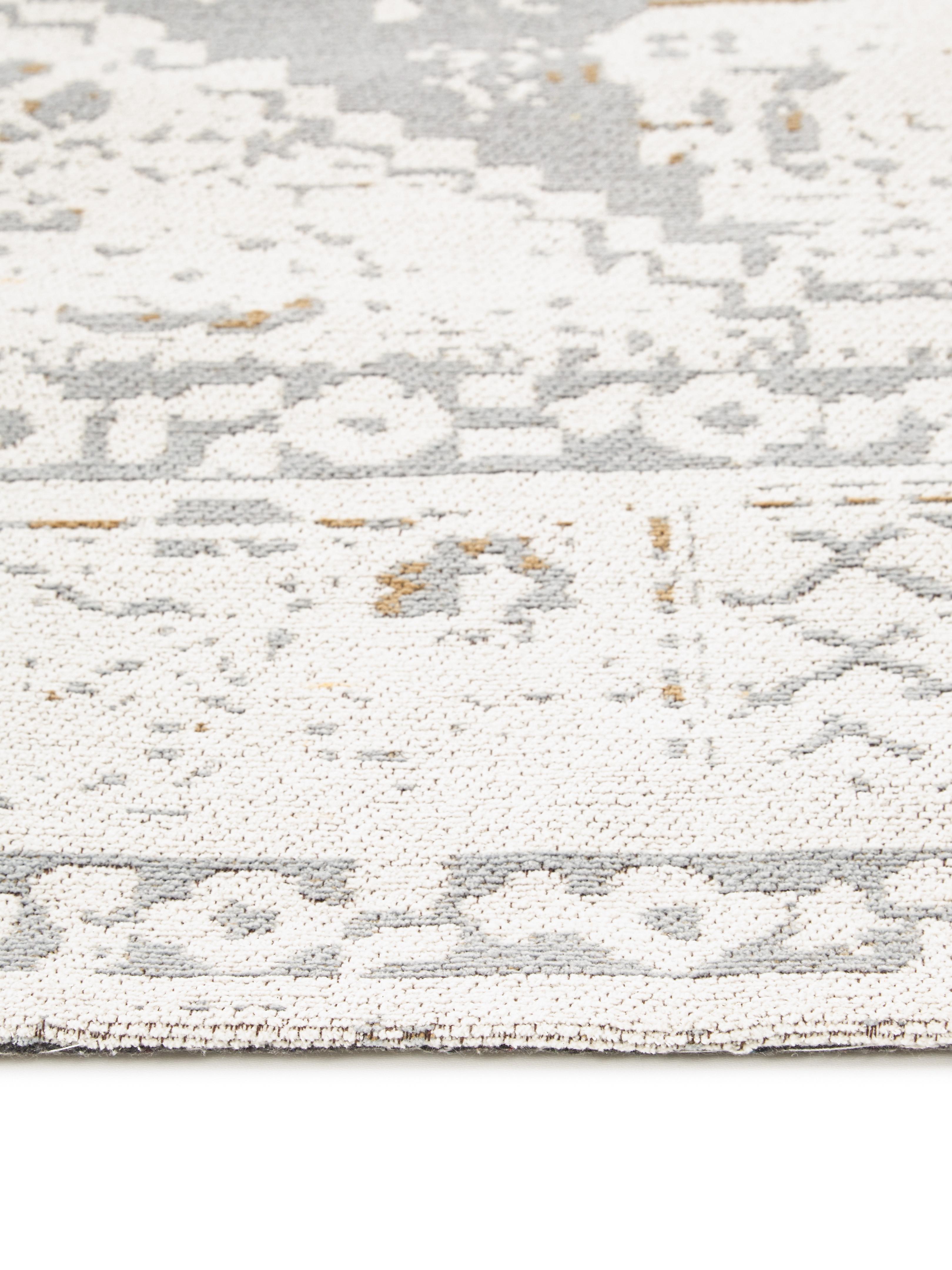 Tappeto in ciniglia tessuto a mano Neapel, Vello: 95% cotone 5% poliestere, Retro: 100% cotone, Grigio chiaro, crema, taupe, Larg. 200 x Lung. 300 cm (taglia L)