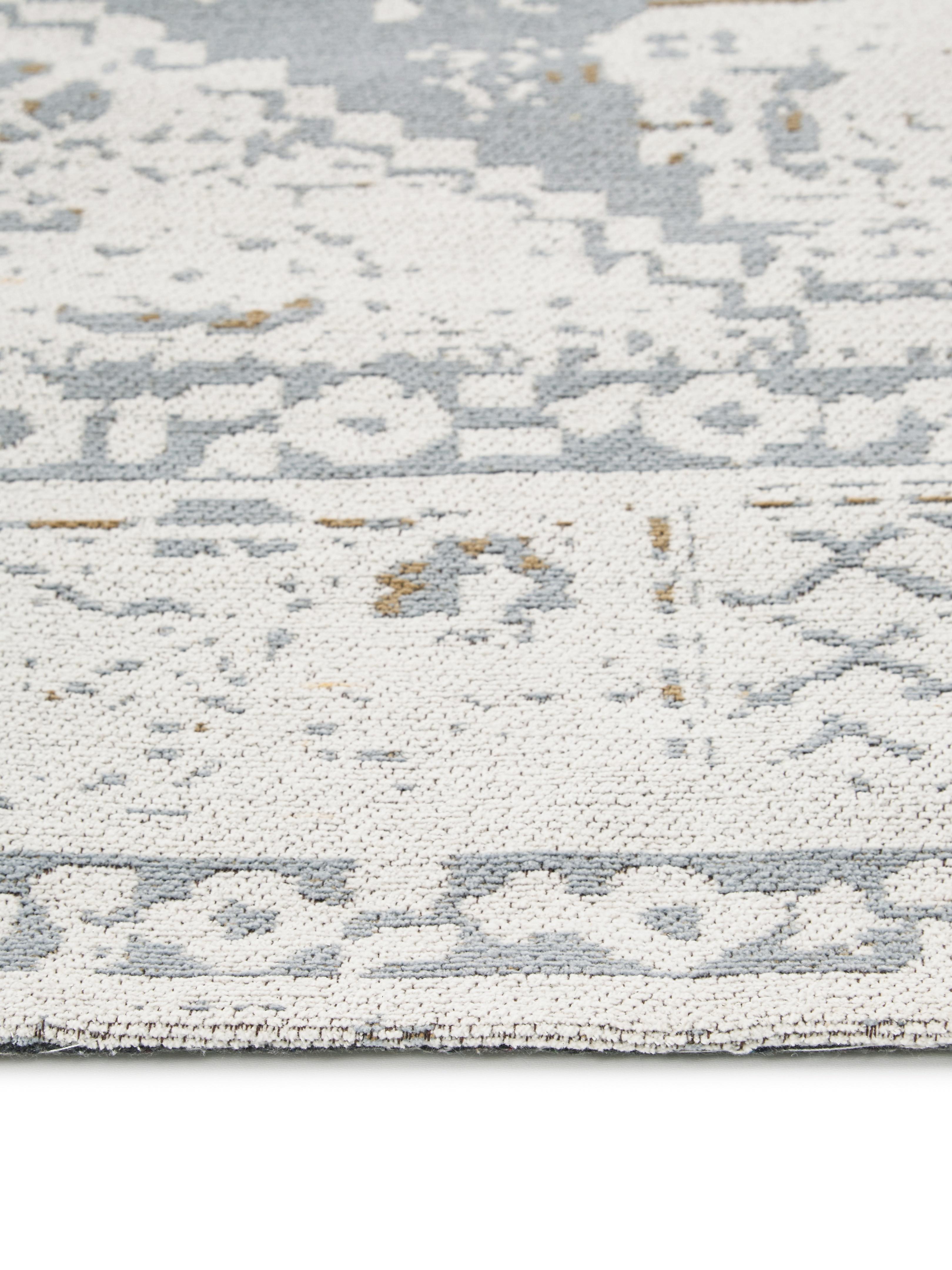 Handgewebter Chenilleteppich Neapel im Vintage Style, Flor: 95% Baumwolle, 5% Polyest, Hellgrau, Creme, Taupe, B 200 x L 300 cm (Grösse L)