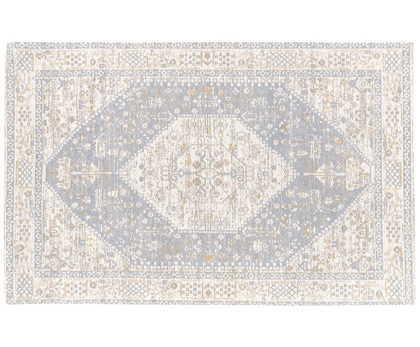 Handgewebter Chenilleteppich Neapel im Vintage Style, Flor: 95% Baumwolle, 5% Polyest, Hellgrau, Creme, Taupe, B 120 x L 180 cm (Grösse S)