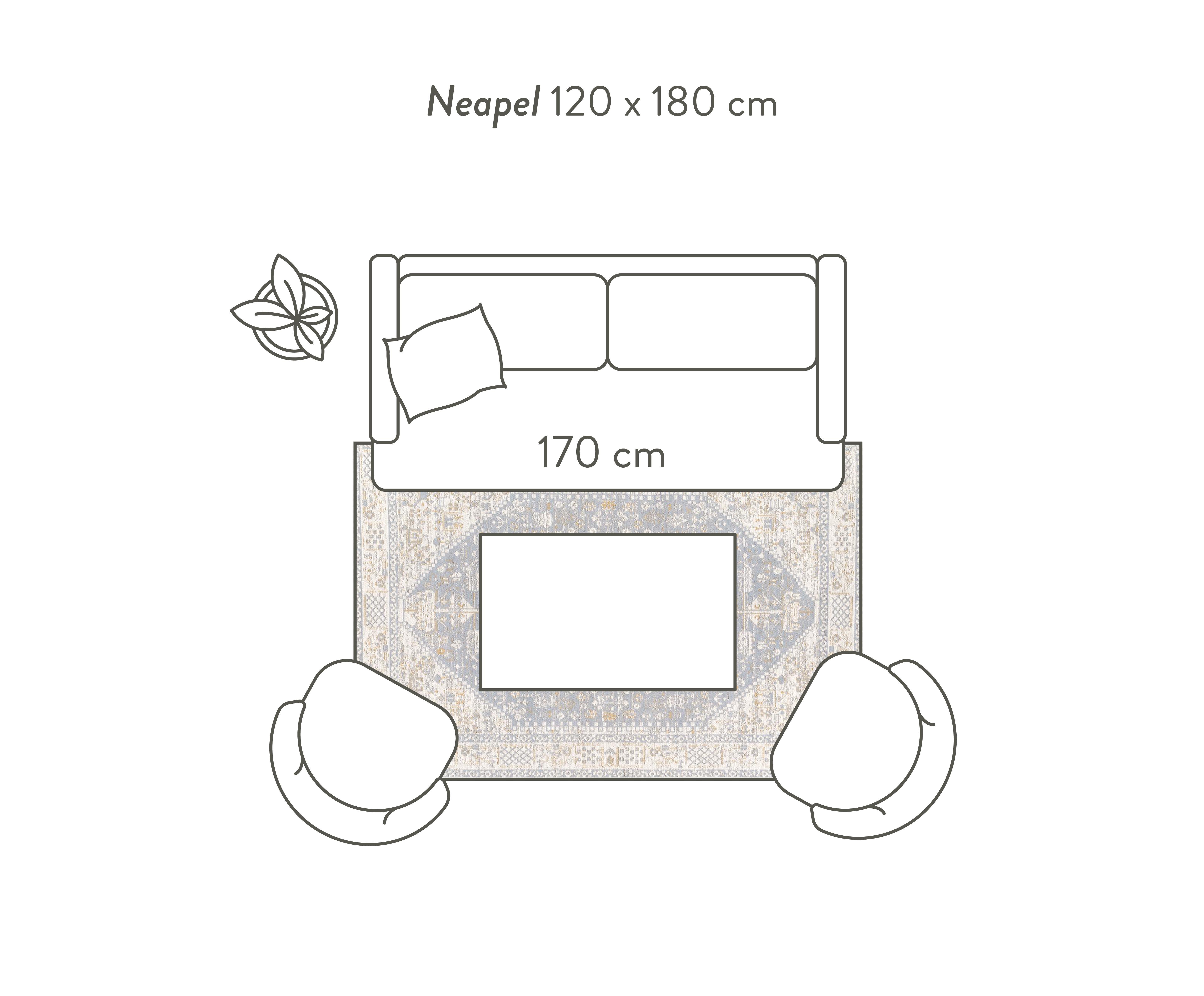 Handgeweven chenille vloerkleed Neapel in vintage stijl, Bovenzijde: 95% katoen, 5% polyester, Onderzijde: 100% katoen, Lichtgrijs, crèmekleurig, taupe, B 200 x L 300 cm (maat L)