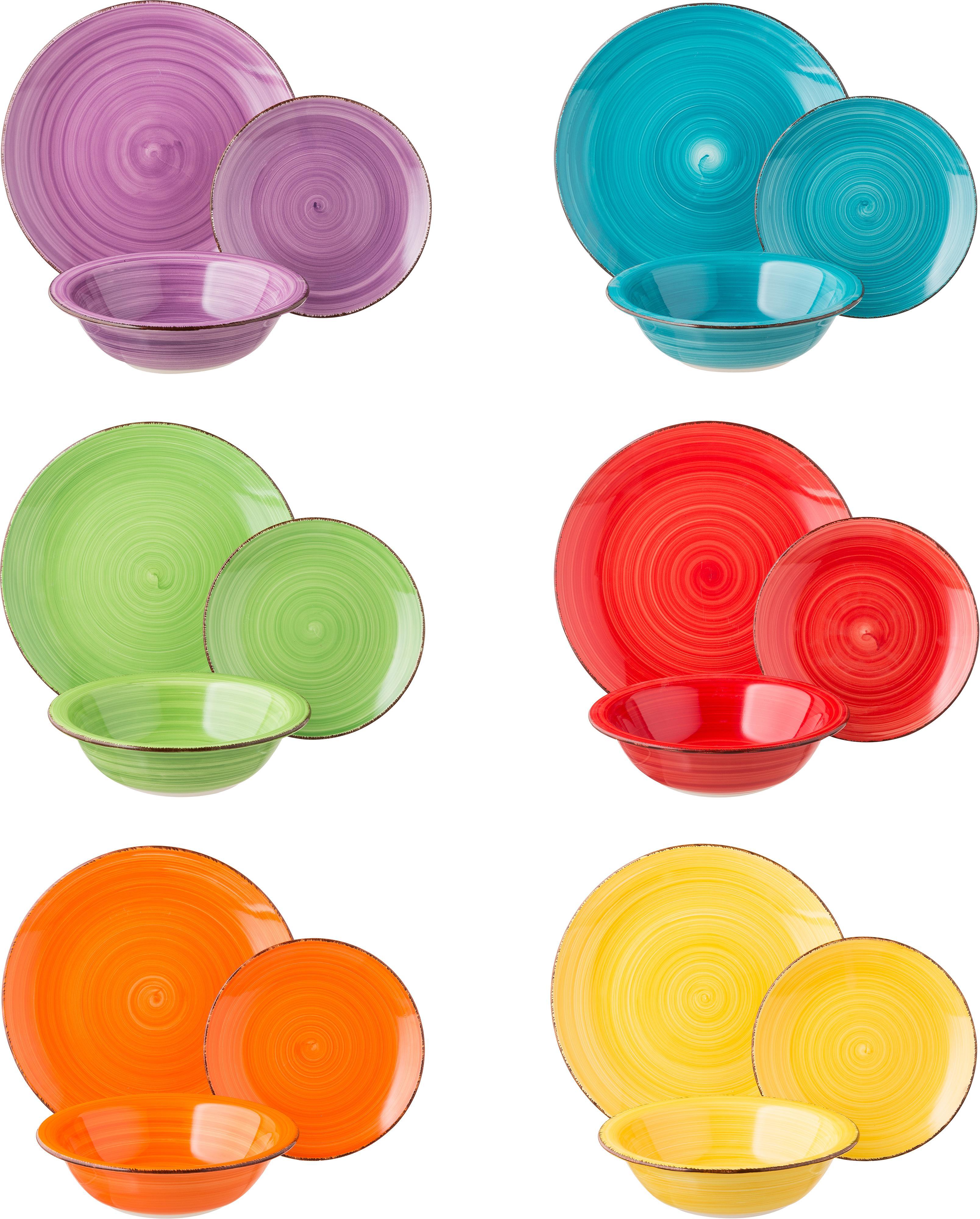 Vajilla artesanal Baita, 6comensales (18pzas.), Gres (dolomita) pintadoamano, Amarillo, lila, turquesa, naranja, rojo, verde, Tamaños diferentes