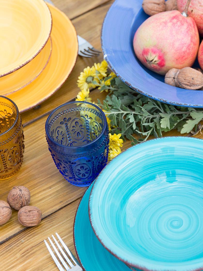 Komplet ręcznie malowanych naczyń  z porcelany Baita, 18elem., Kamionka (twardy dolomit), ręcznie malowana, Wielobarwny, Komplet z różnymi rozmiarami