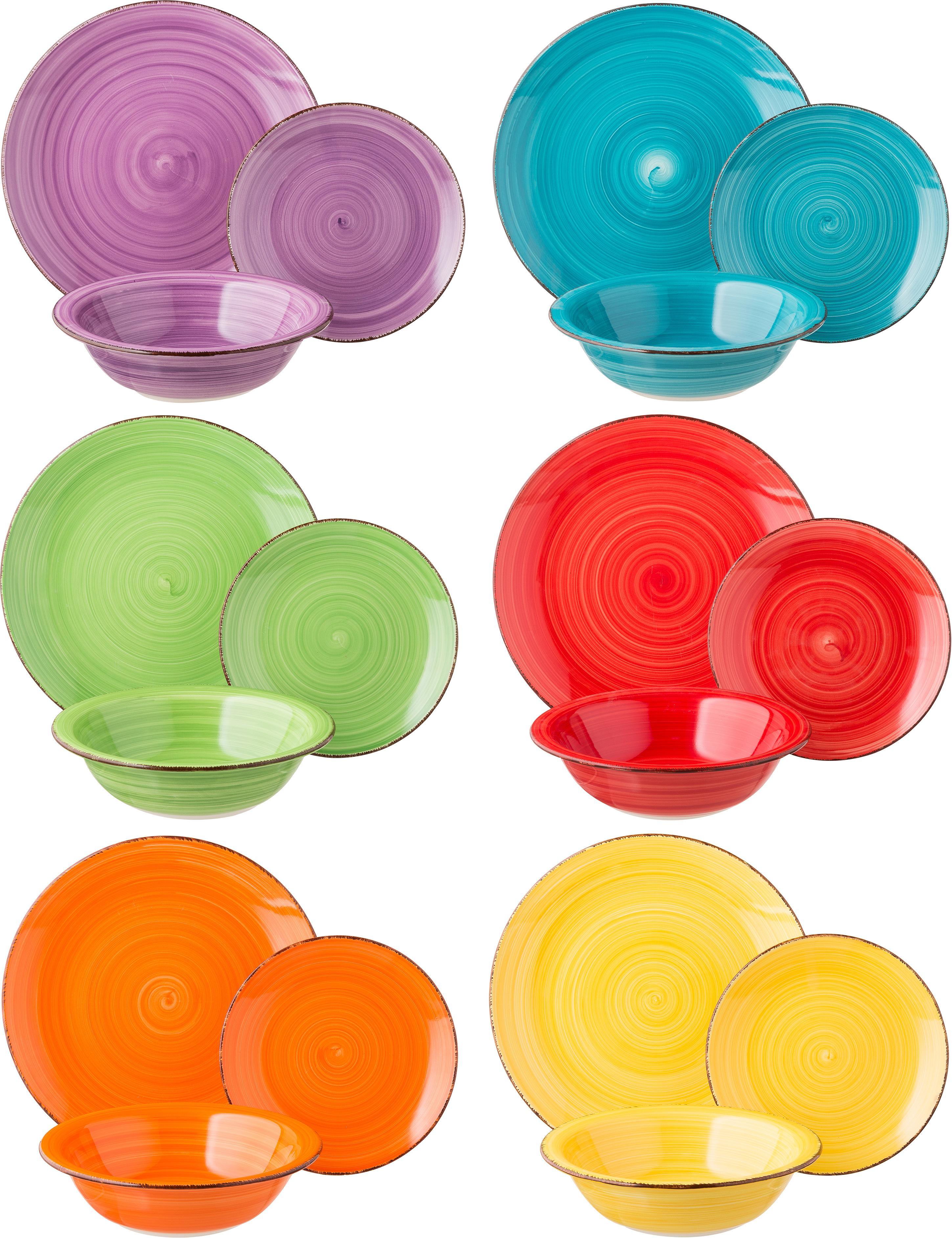 Vajilla artesanal Baita, 6comensales (18pzas.), Gres (dolomita) pintadoamano, Amarillo, lila, turquesa, naranja, rojo, verde, Set de diferentes tamaños