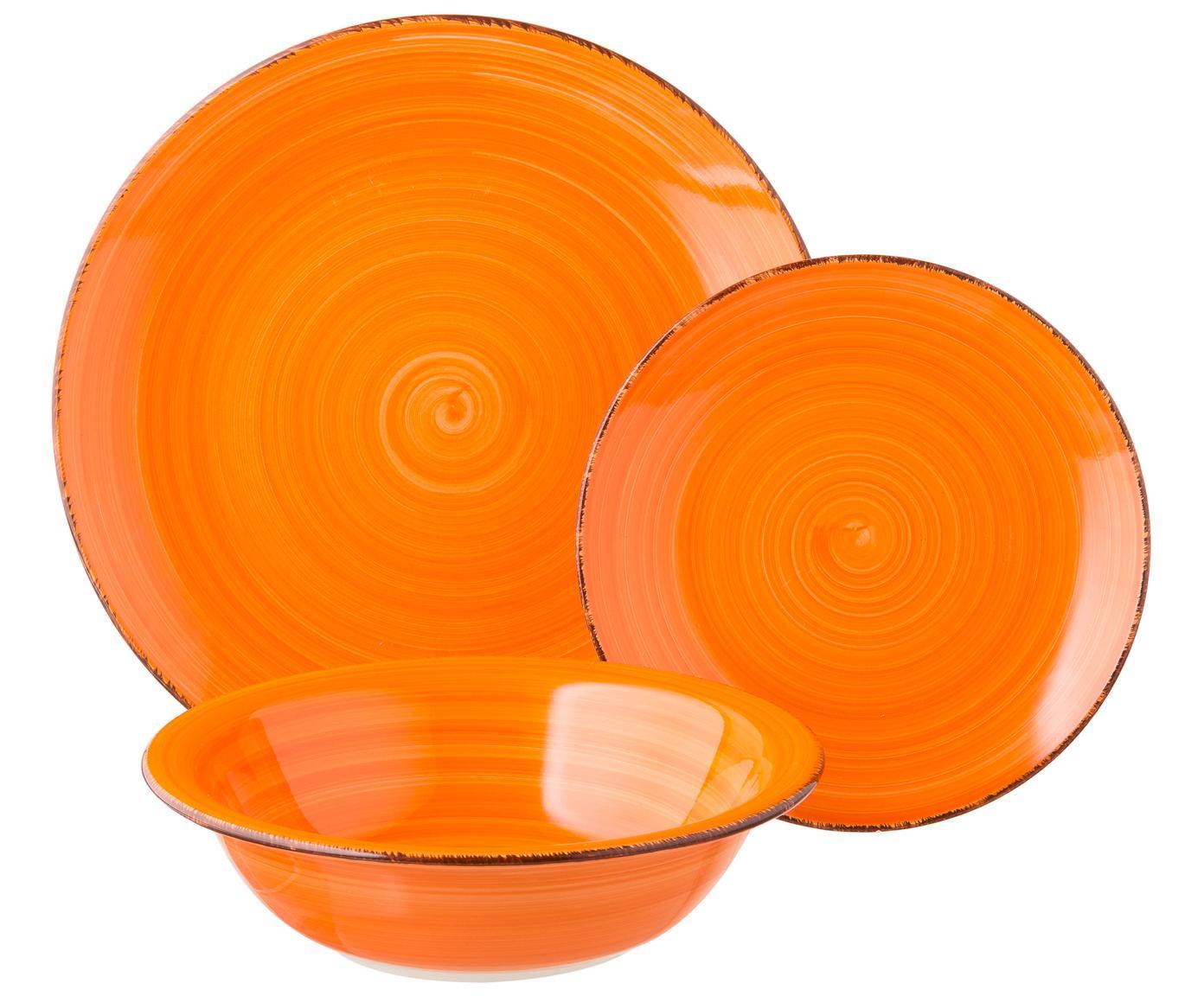 Komplet naczyń  z porcelany Baita, 18elem., Kamionka (Hard Dolomite), ręcznie malowana, Żółty, purpurowy, turkusowy, pomarańczowy, czerwony, zielony, Różne rozmiary